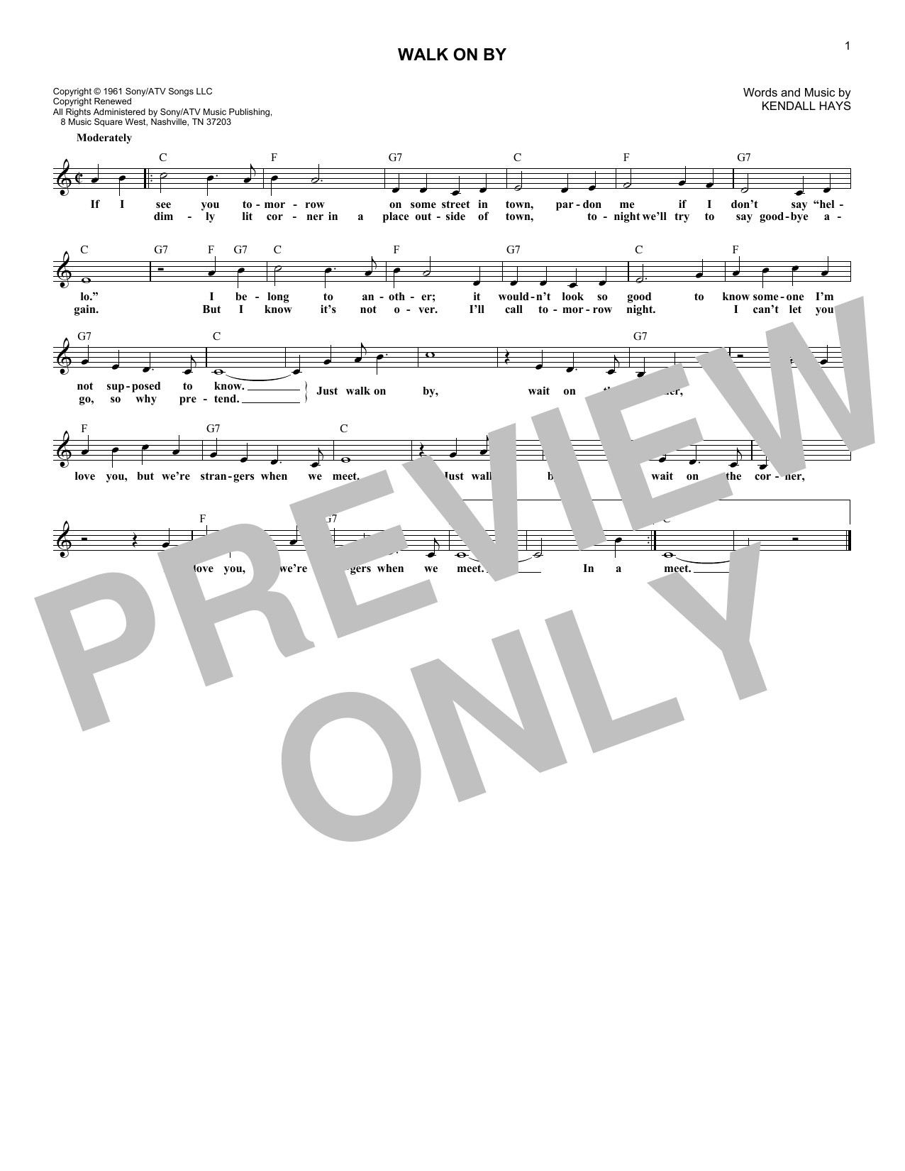 Walk On By (Lead Sheet / Fake Book)