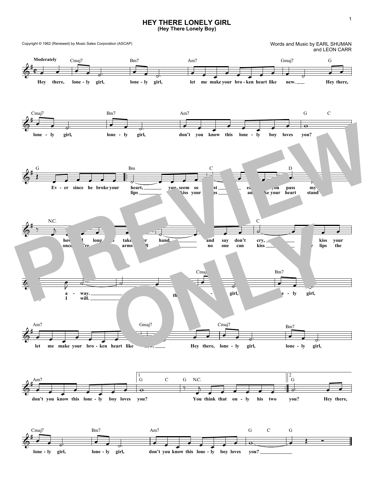 Hey There Lonely Girl (Hey There Lonely Boy) Sheet Music