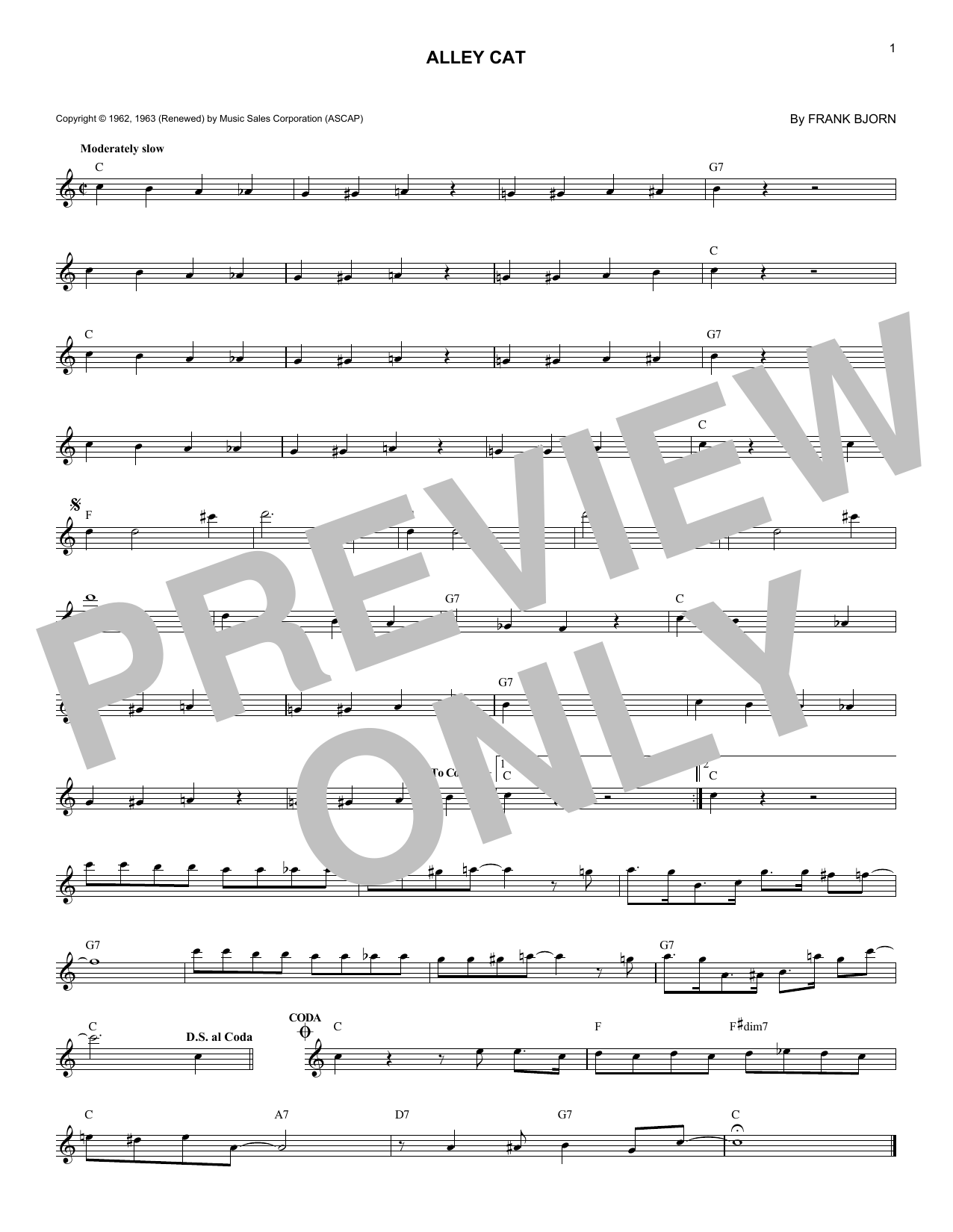 Alley Cat (Lead Sheet / Fake Book)