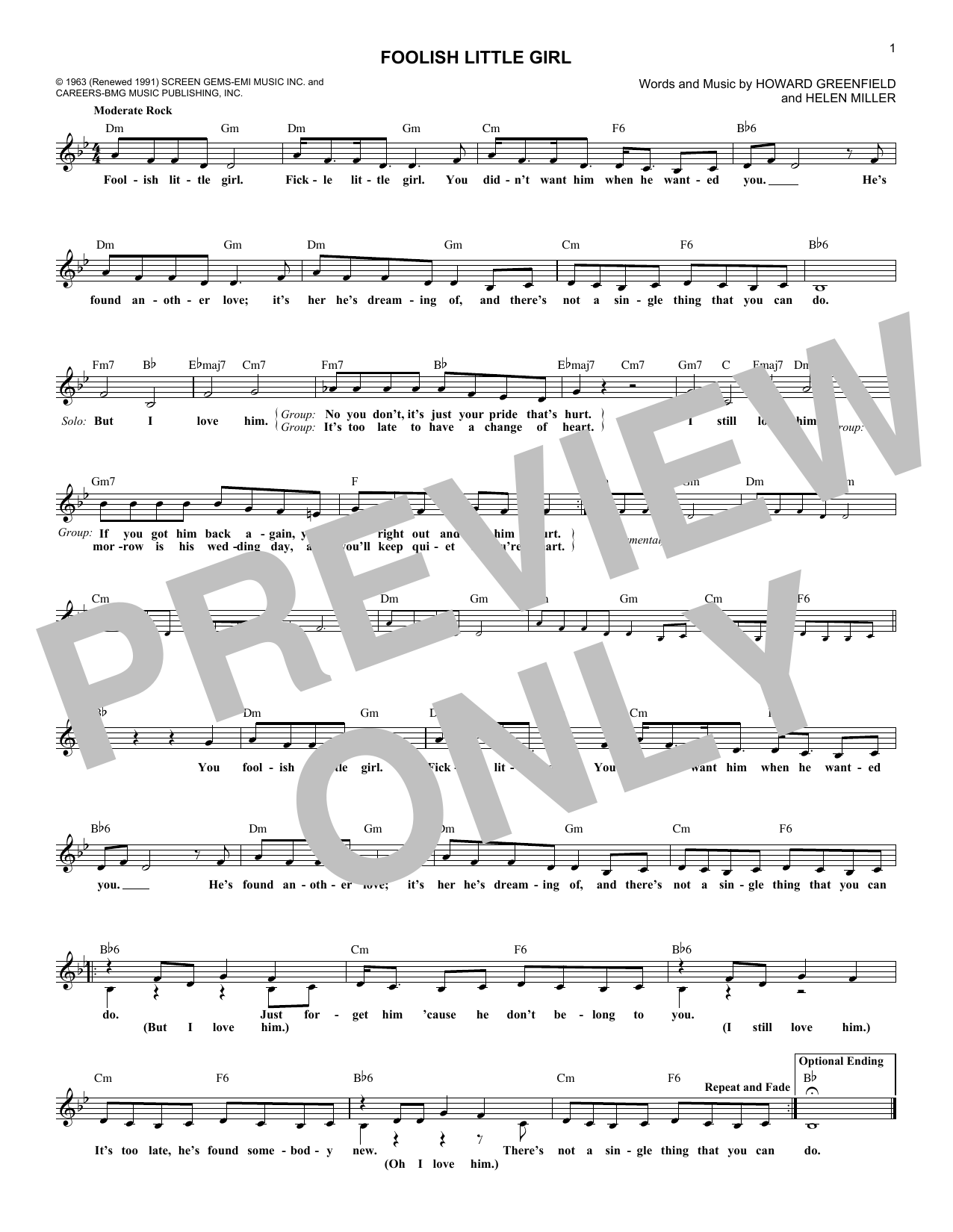 Foolish Little Girl Sheet Music