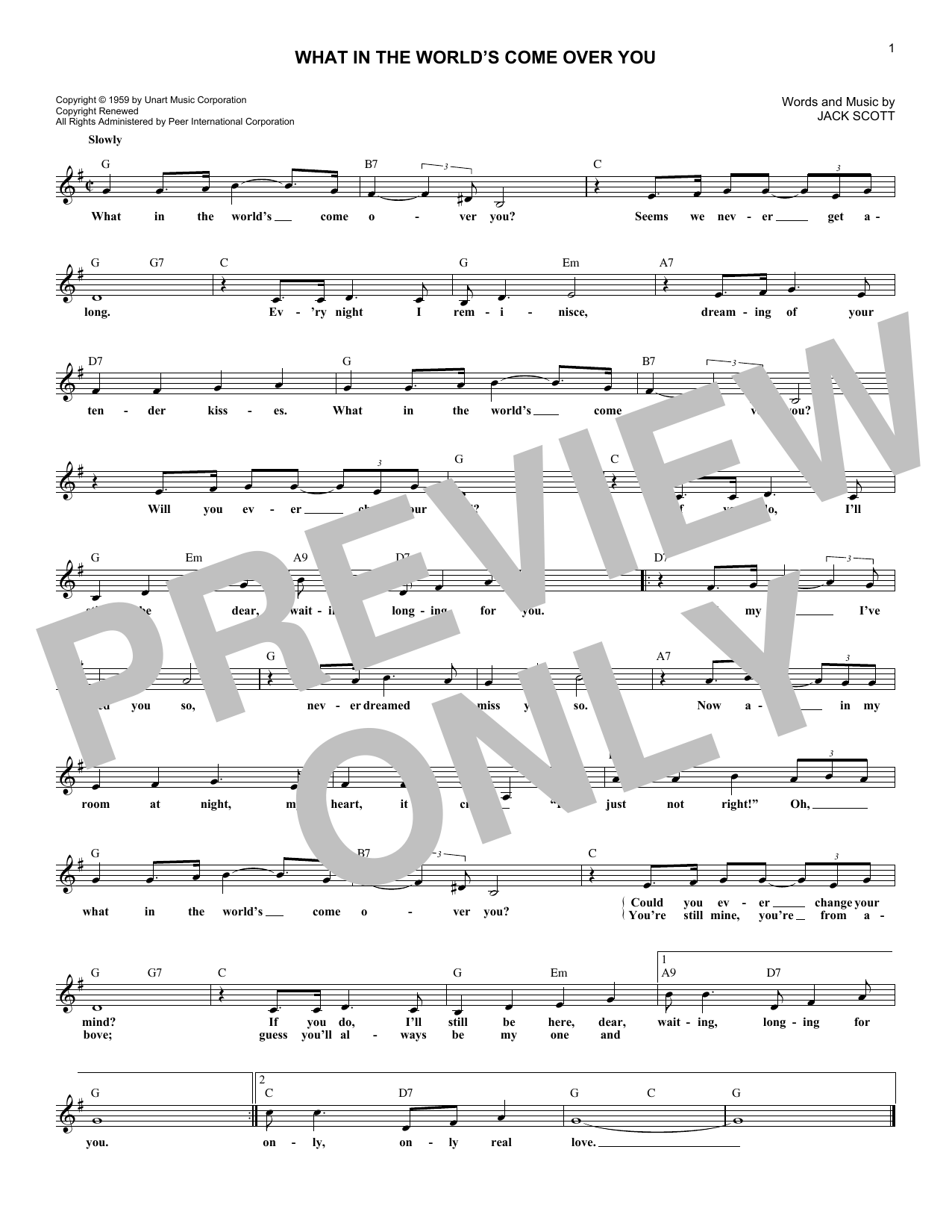 What In The World's Come Over You Sheet Music