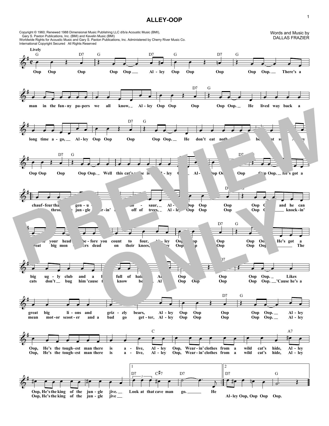 Alley-oop (Lead Sheet / Fake Book)