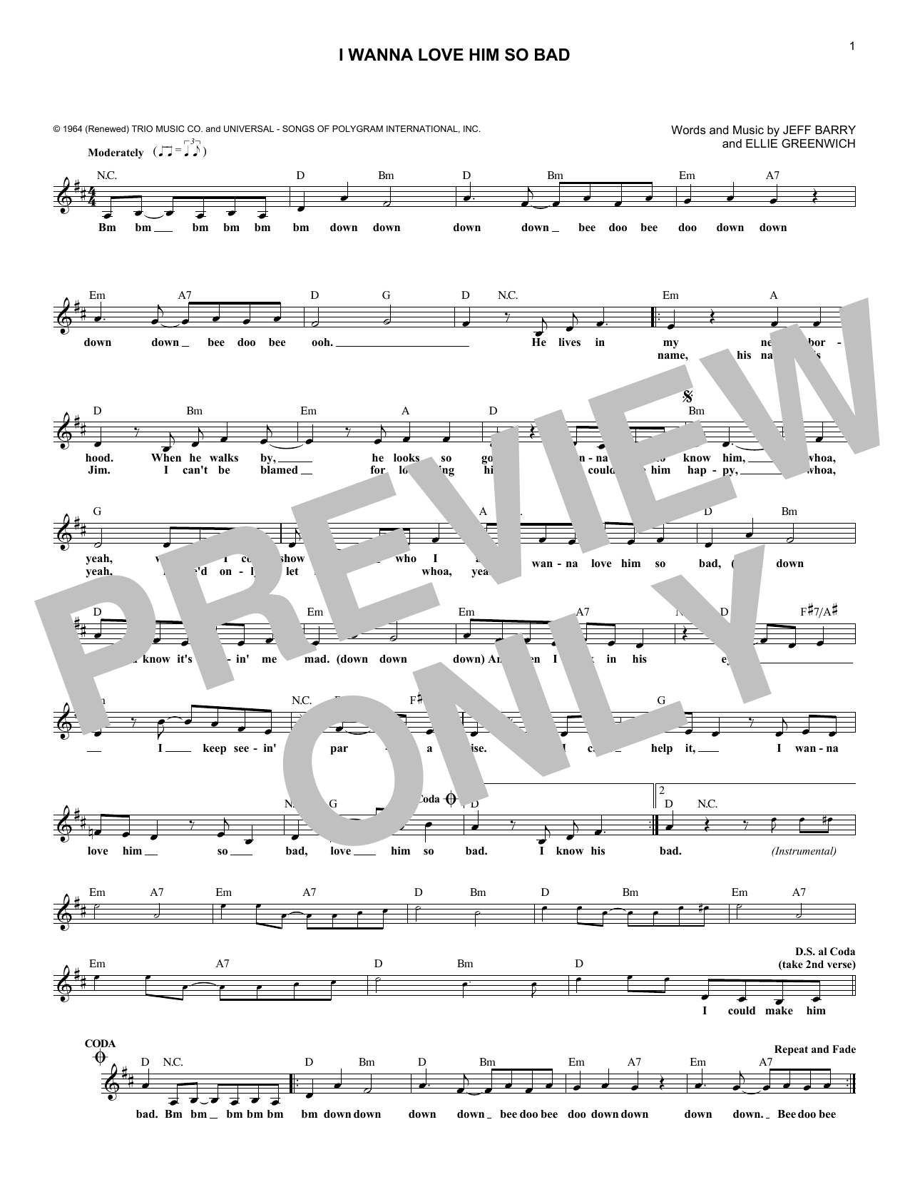 I Wanna Love Him So Bad (Lead Sheet / Fake Book)