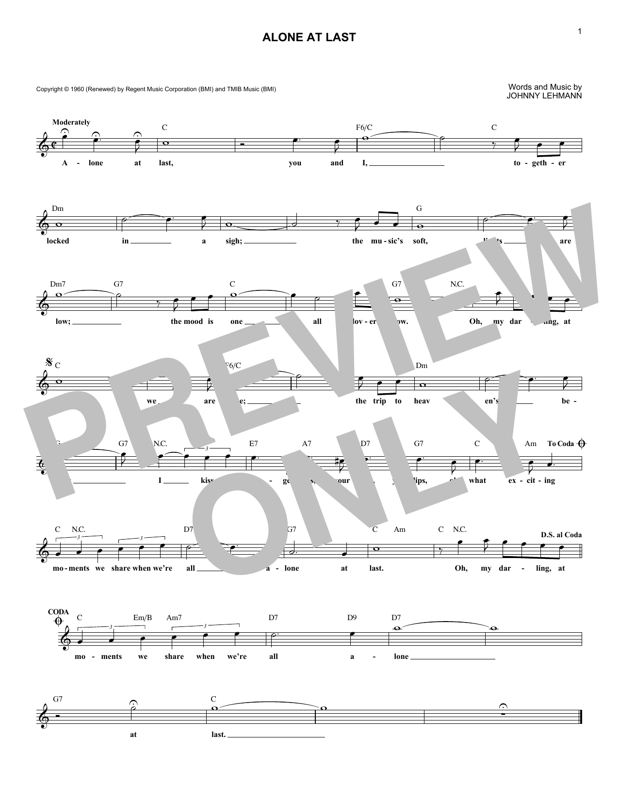 Alone At Last (Lead Sheet / Fake Book)
