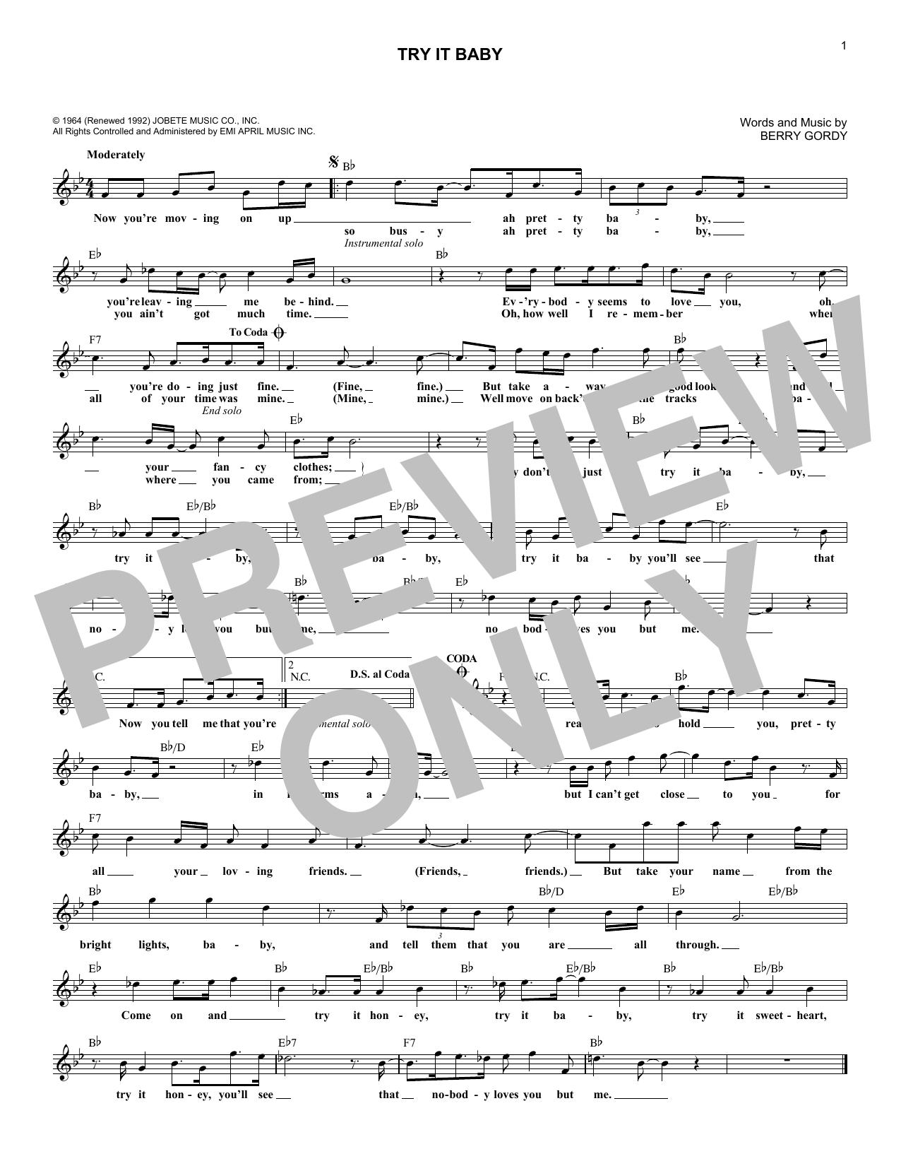 Try It Baby (Melody Line, Lyrics & Chords)