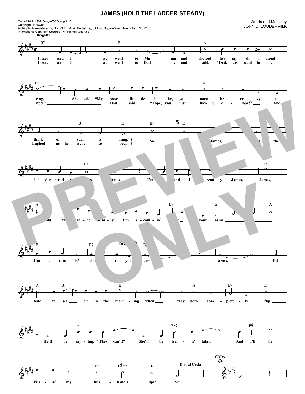 James (Hold The Ladder Steady) (Lead Sheet / Fake Book)