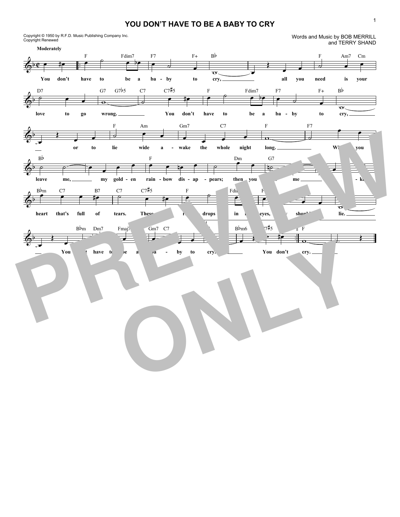 You Don't Have To Be A Baby To Cry Sheet Music