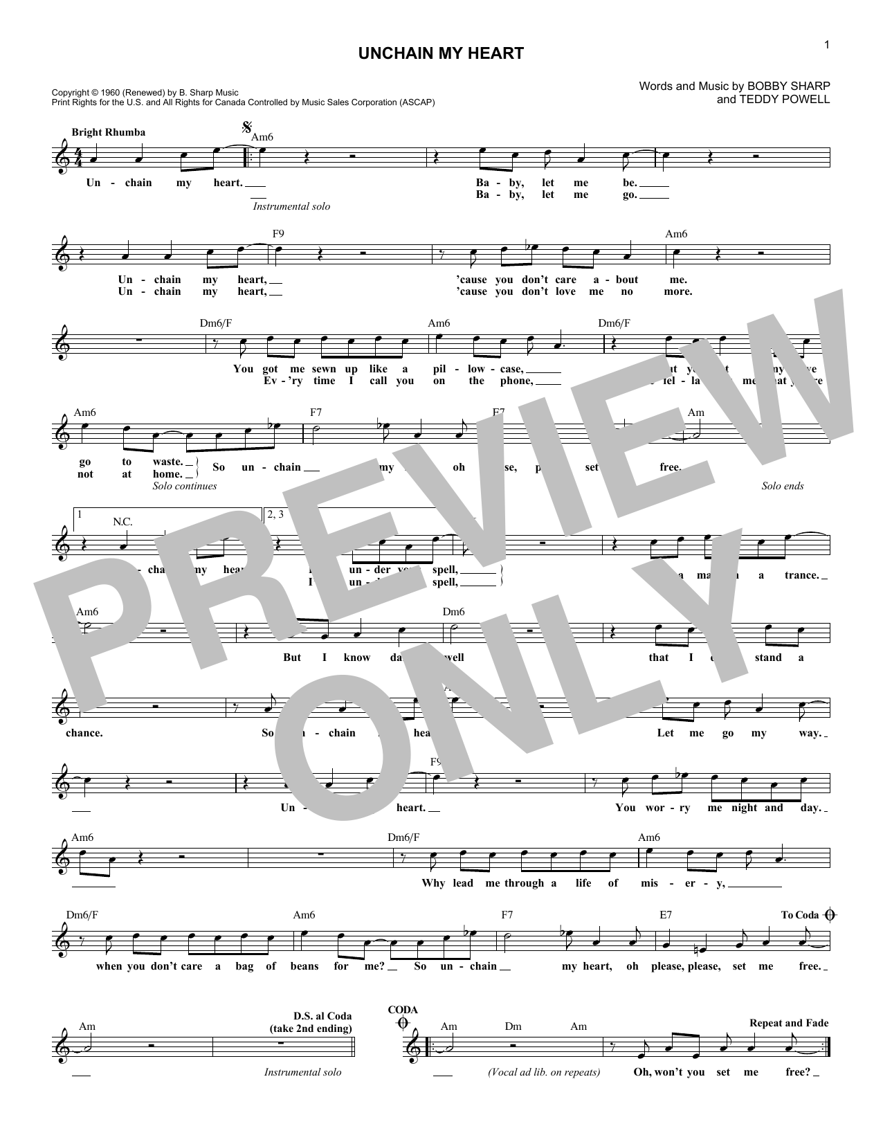 Unchain My Heart (Lead Sheet / Fake Book)
