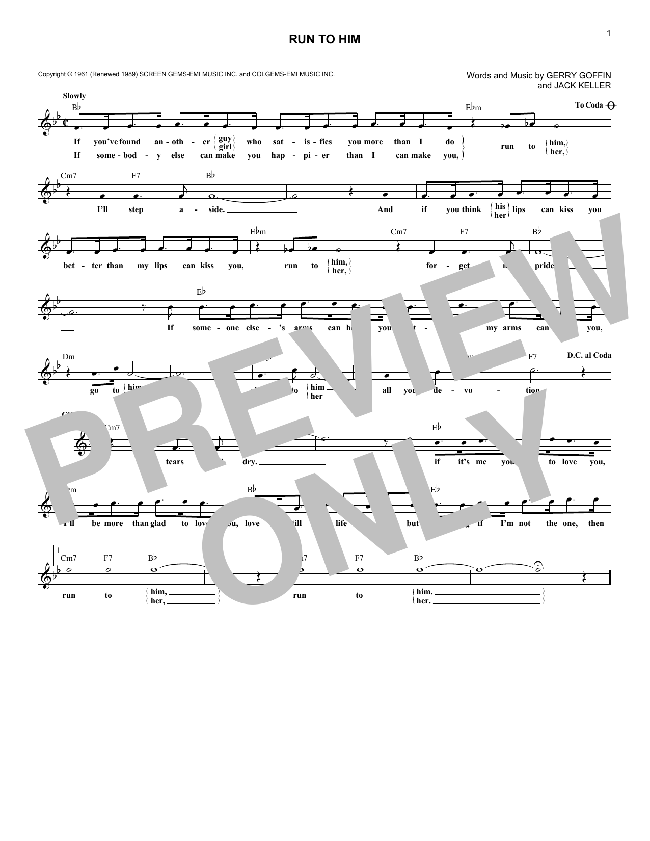 Run To Him (Lead Sheet / Fake Book)