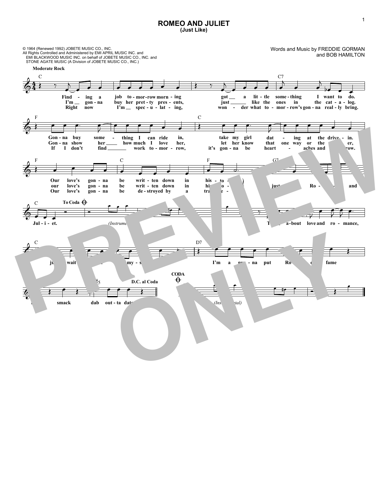 Romeo and Juliet (Just Like) (Lead Sheet / Fake Book)