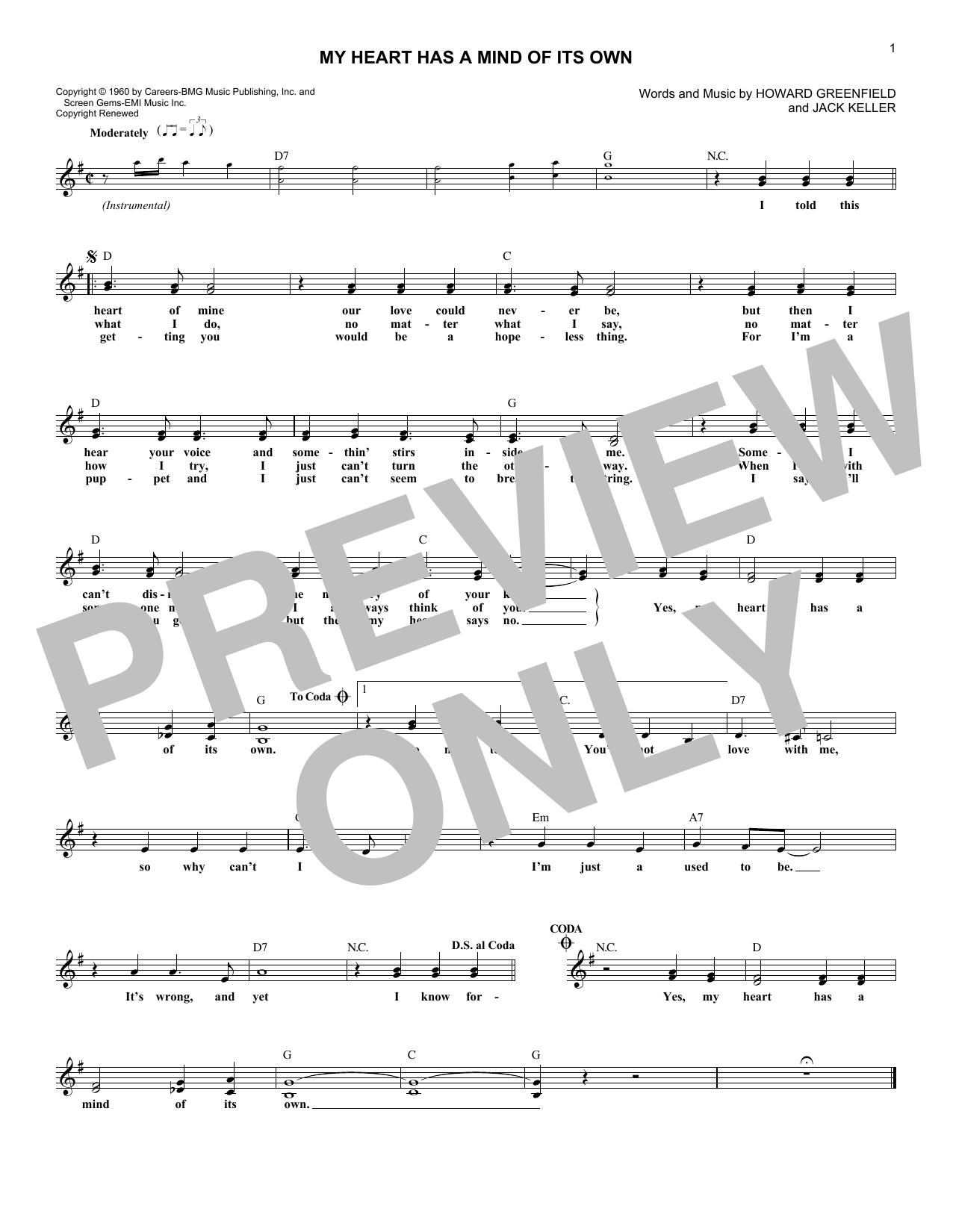 My Heart Has A Mind Of Its Own (Lead Sheet / Fake Book)