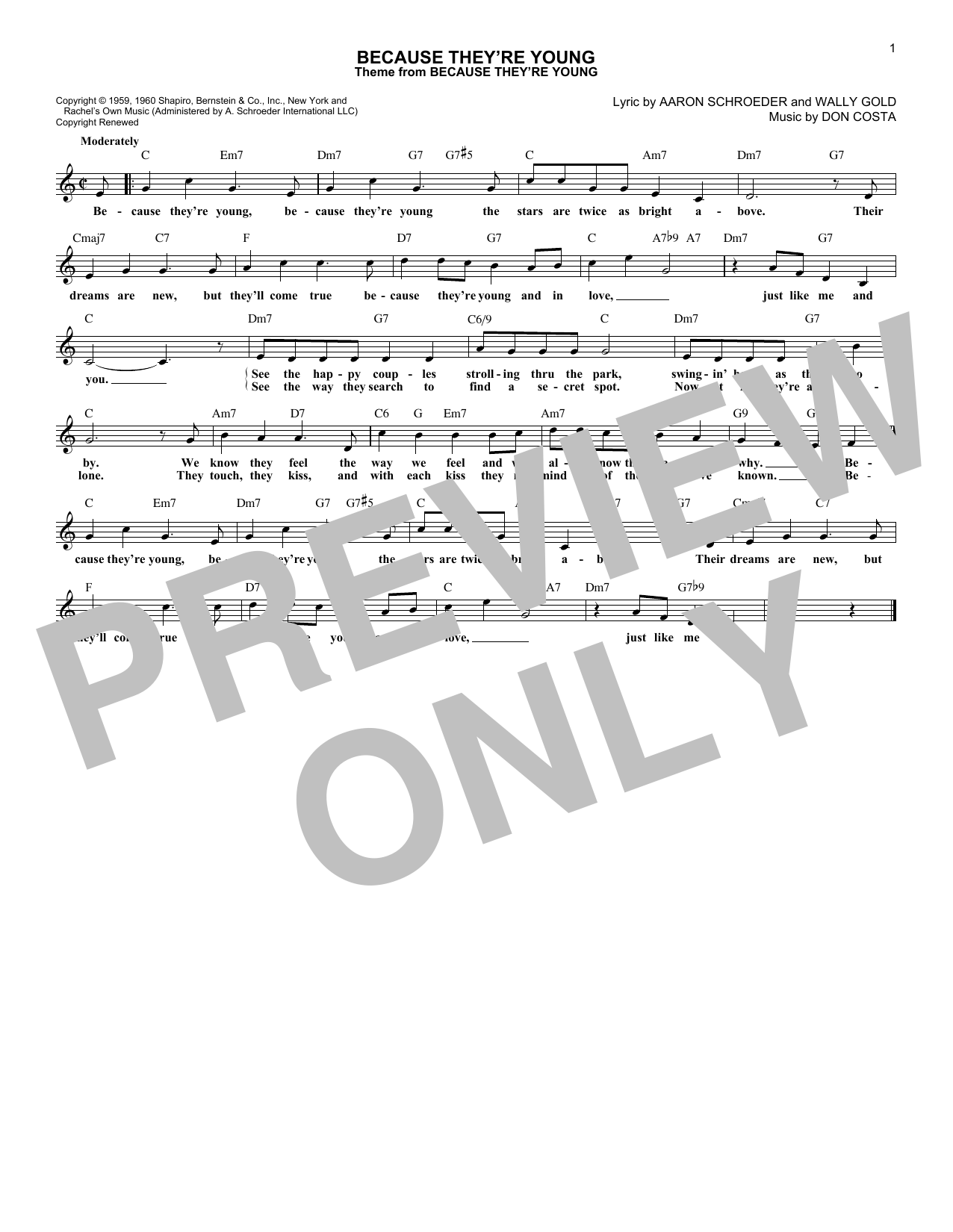 Because They're Young (Lead Sheet / Fake Book)