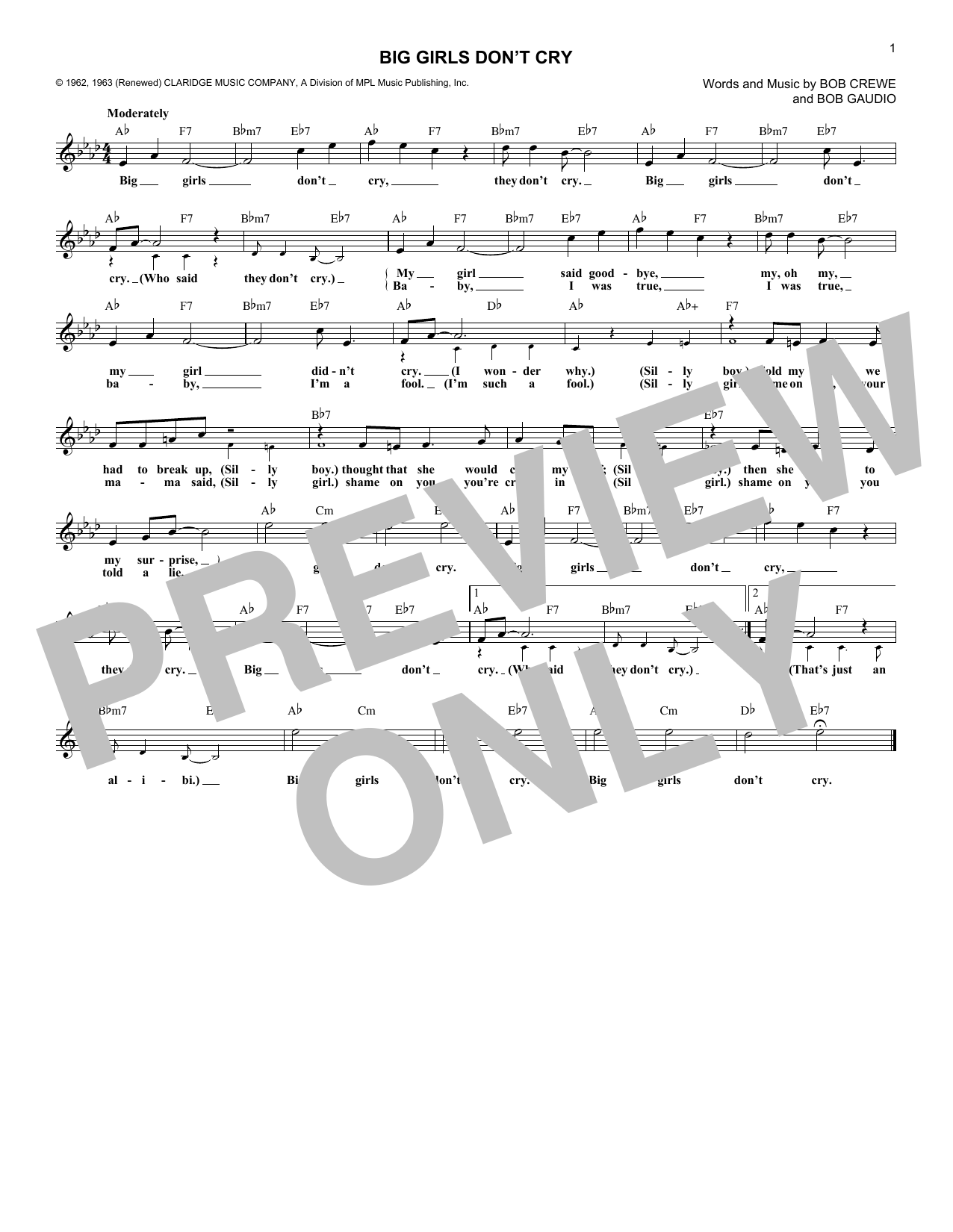 Big Girls Don't Cry (Lead Sheet / Fake Book)