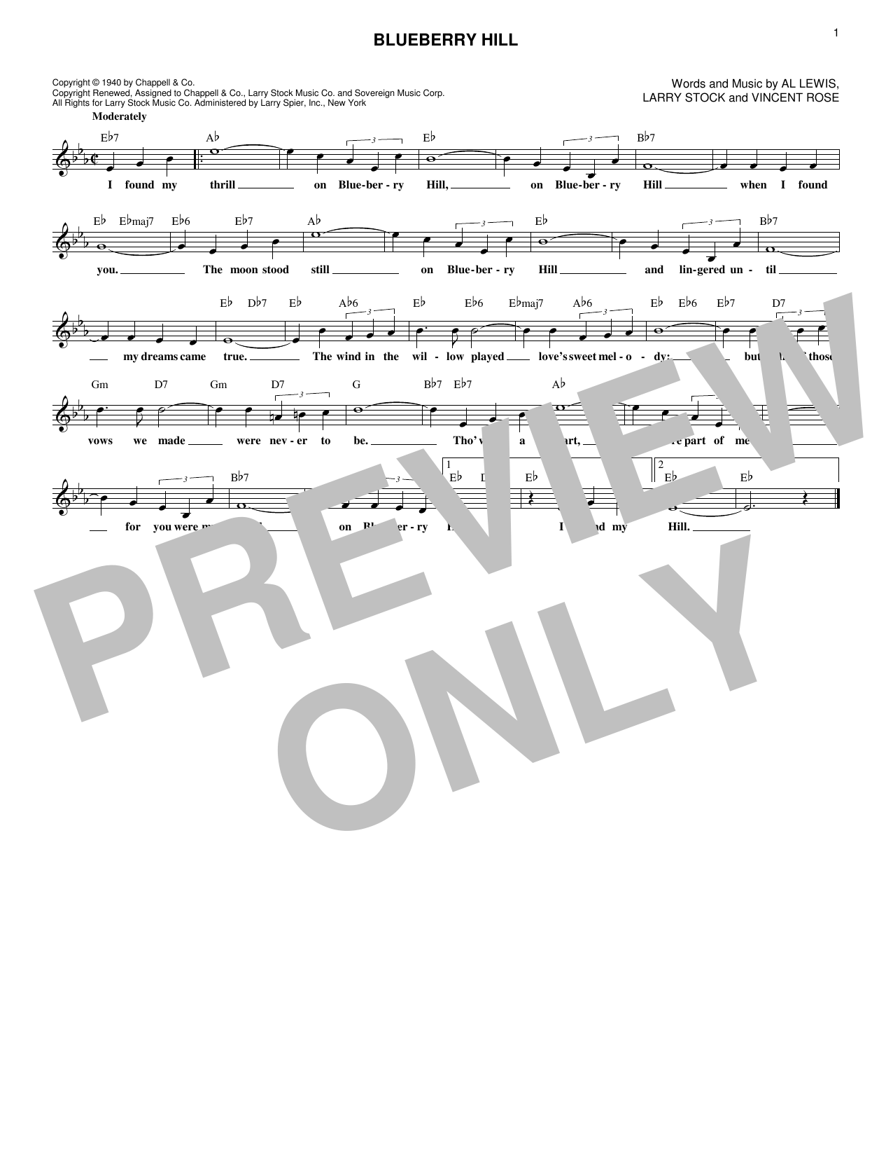 Blueberry Hill (Lead Sheet / Fake Book)