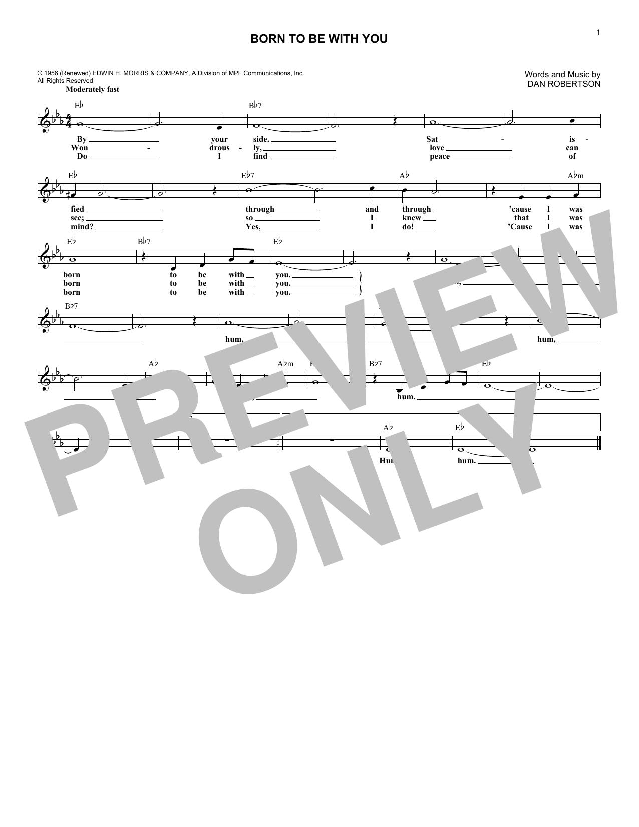 Born To Be With You (Lead Sheet / Fake Book)