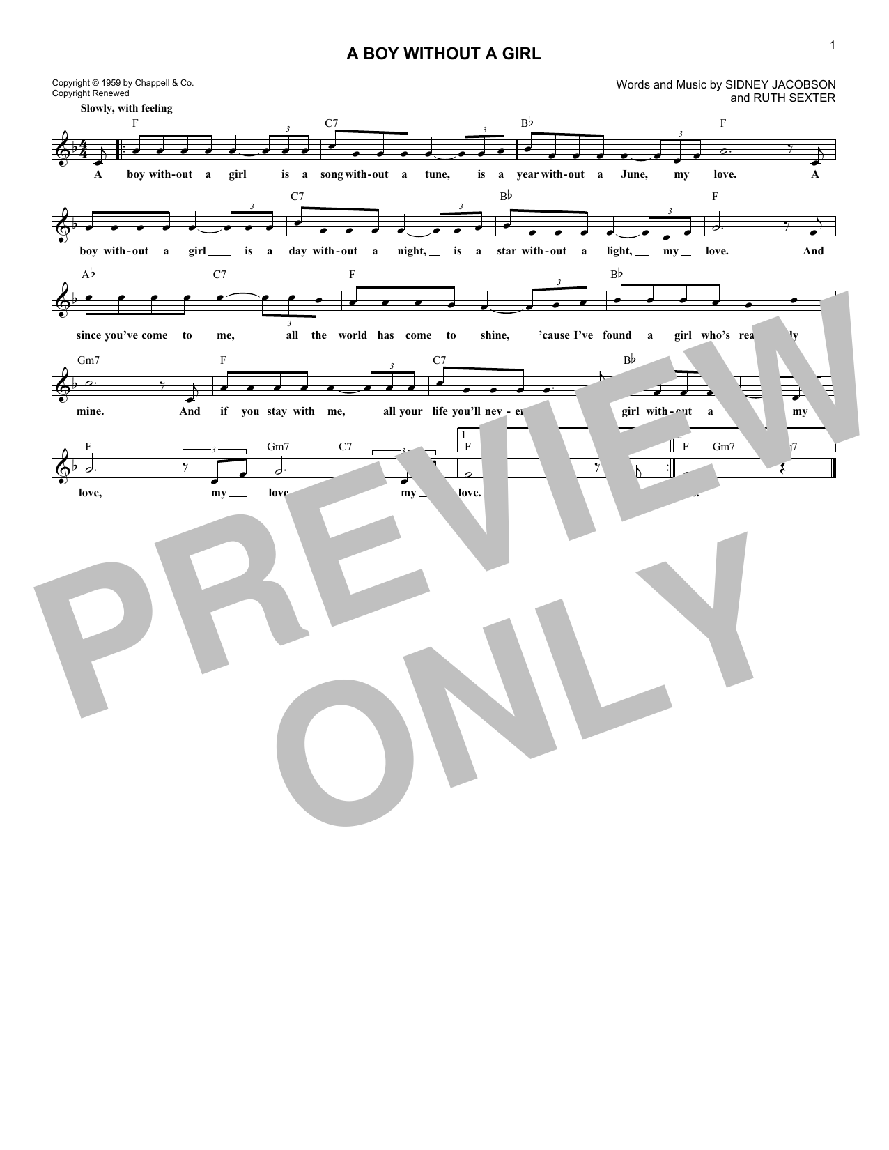 A Boy Without A Girl Sheet Music