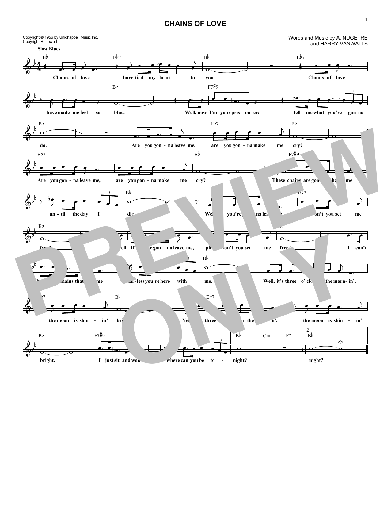 Chains Of Love (Lead Sheet / Fake Book)