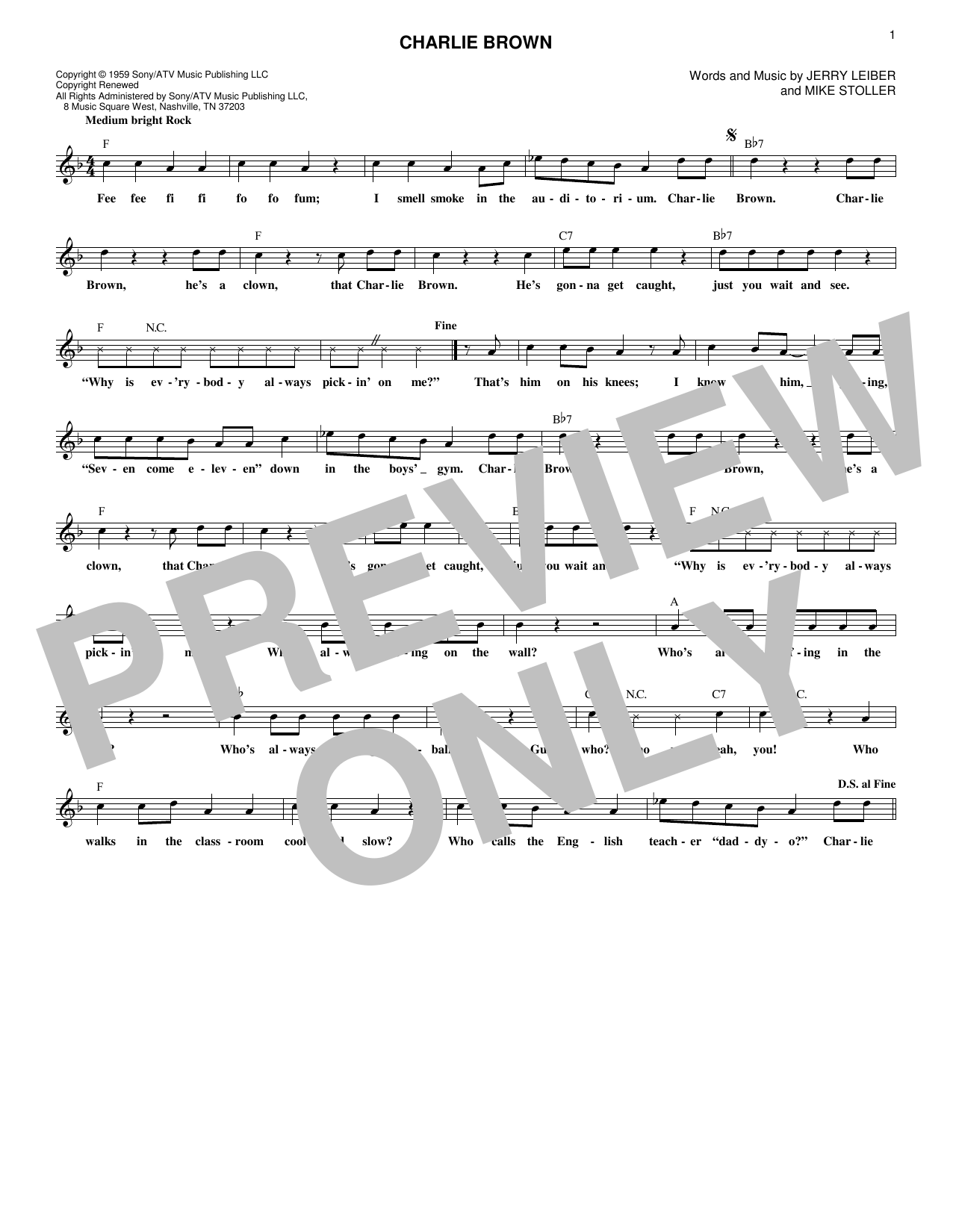 Charlie Brown (Lead Sheet / Fake Book)