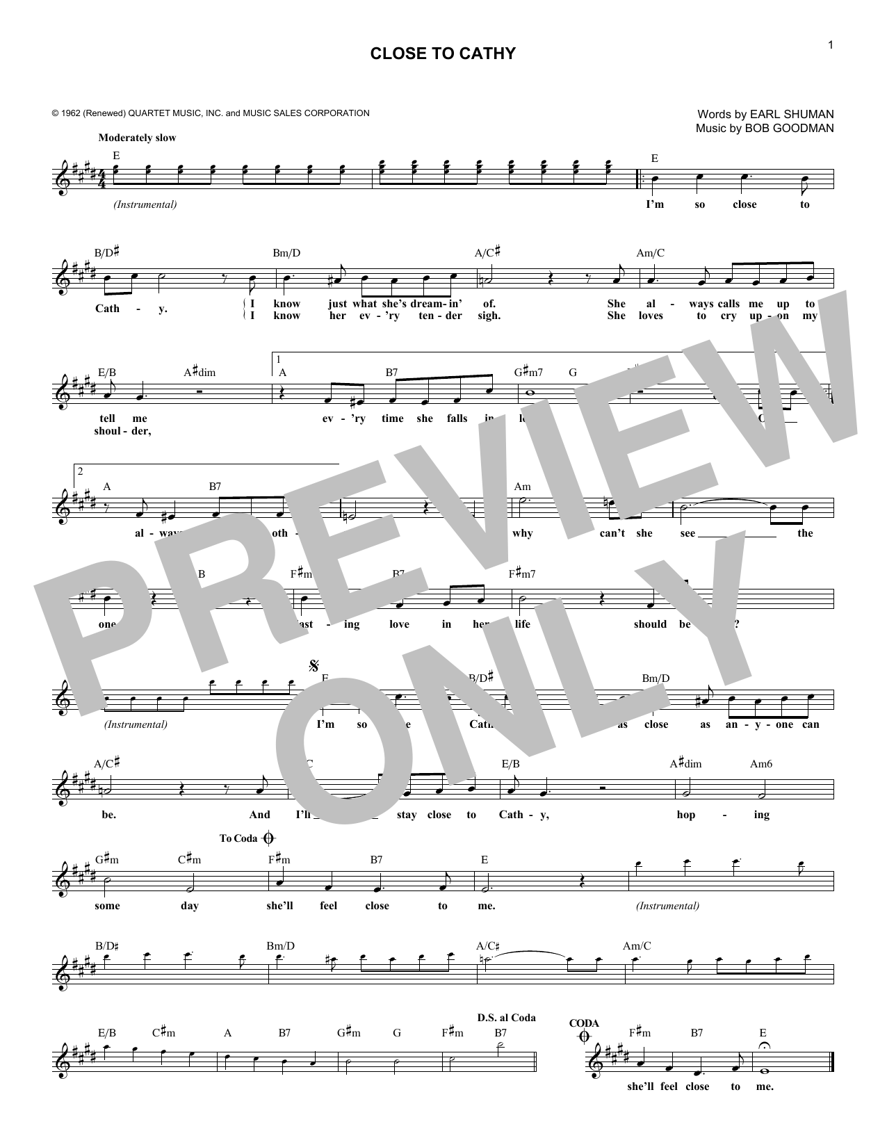 Close To Cathy (Lead Sheet / Fake Book)