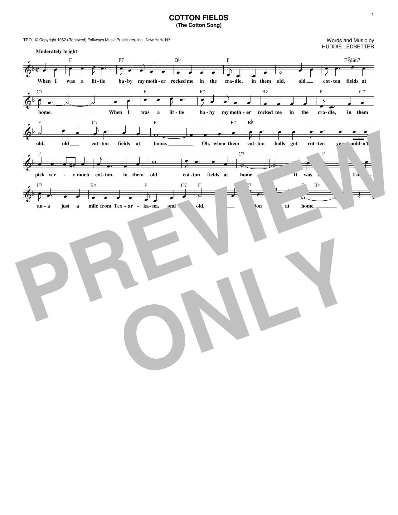 Cotton Fields (The Cotton Song) (Lead Sheet / Fake Book)