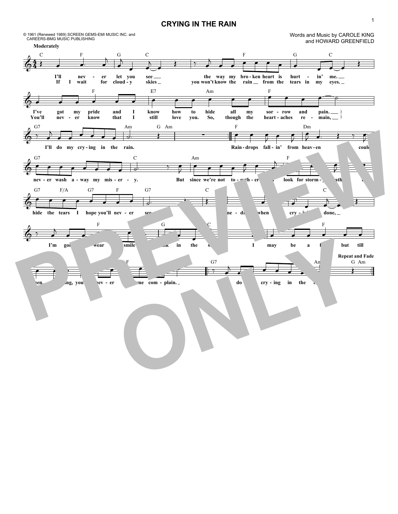 Crying In The Rain (Lead Sheet / Fake Book)