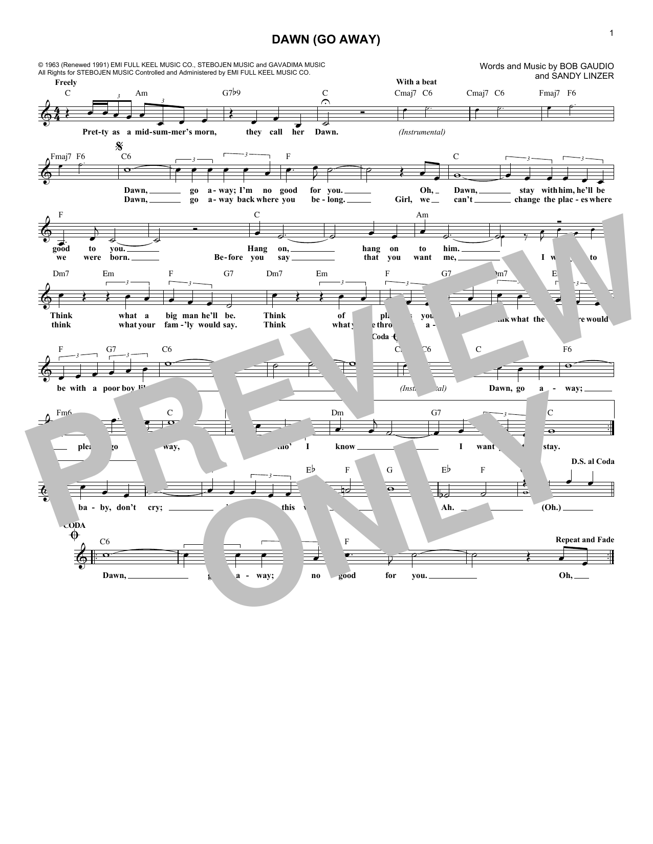 Dawn (Go Away) (Lead Sheet / Fake Book)