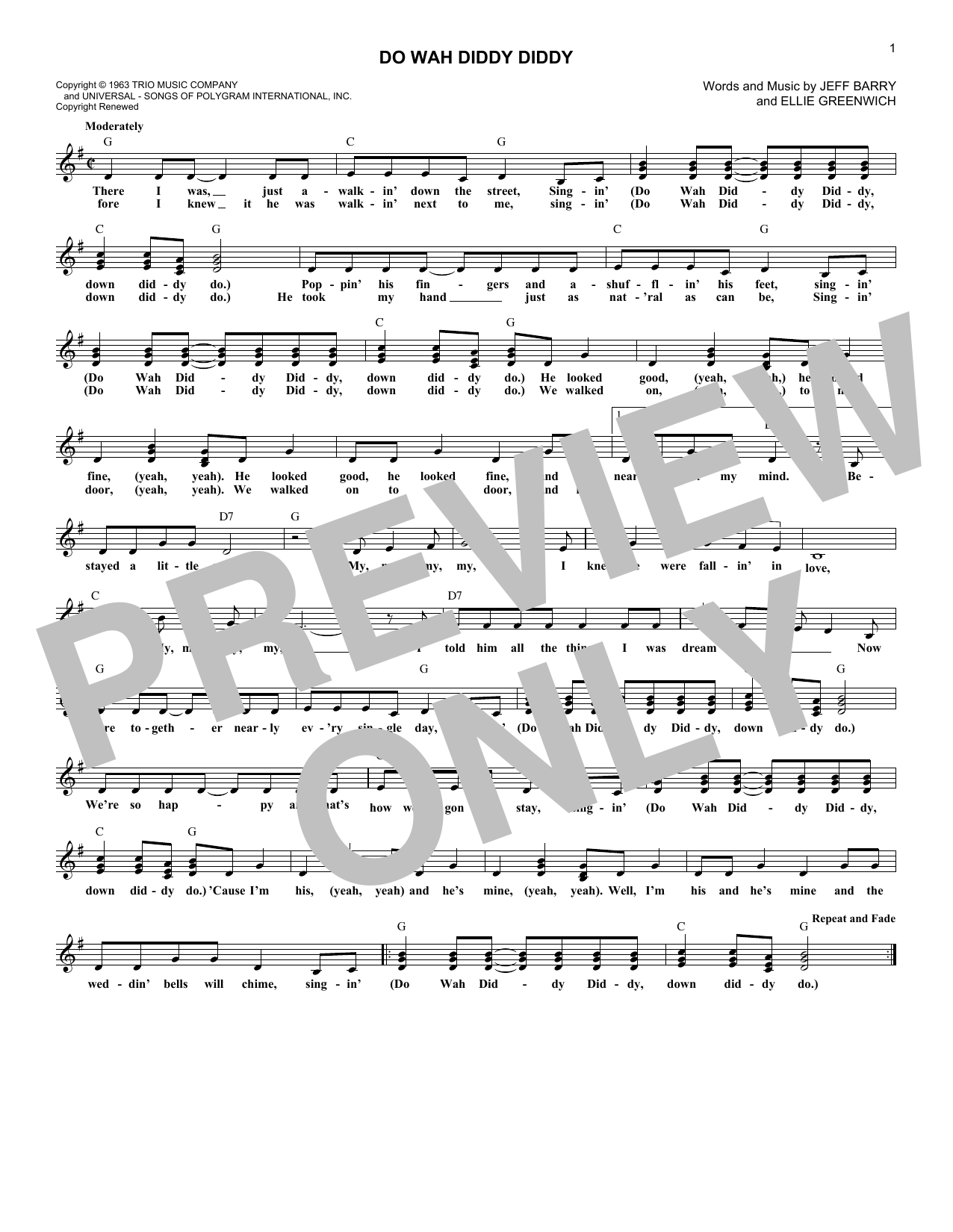 Do Wah Diddy Diddy (Lead Sheet / Fake Book)