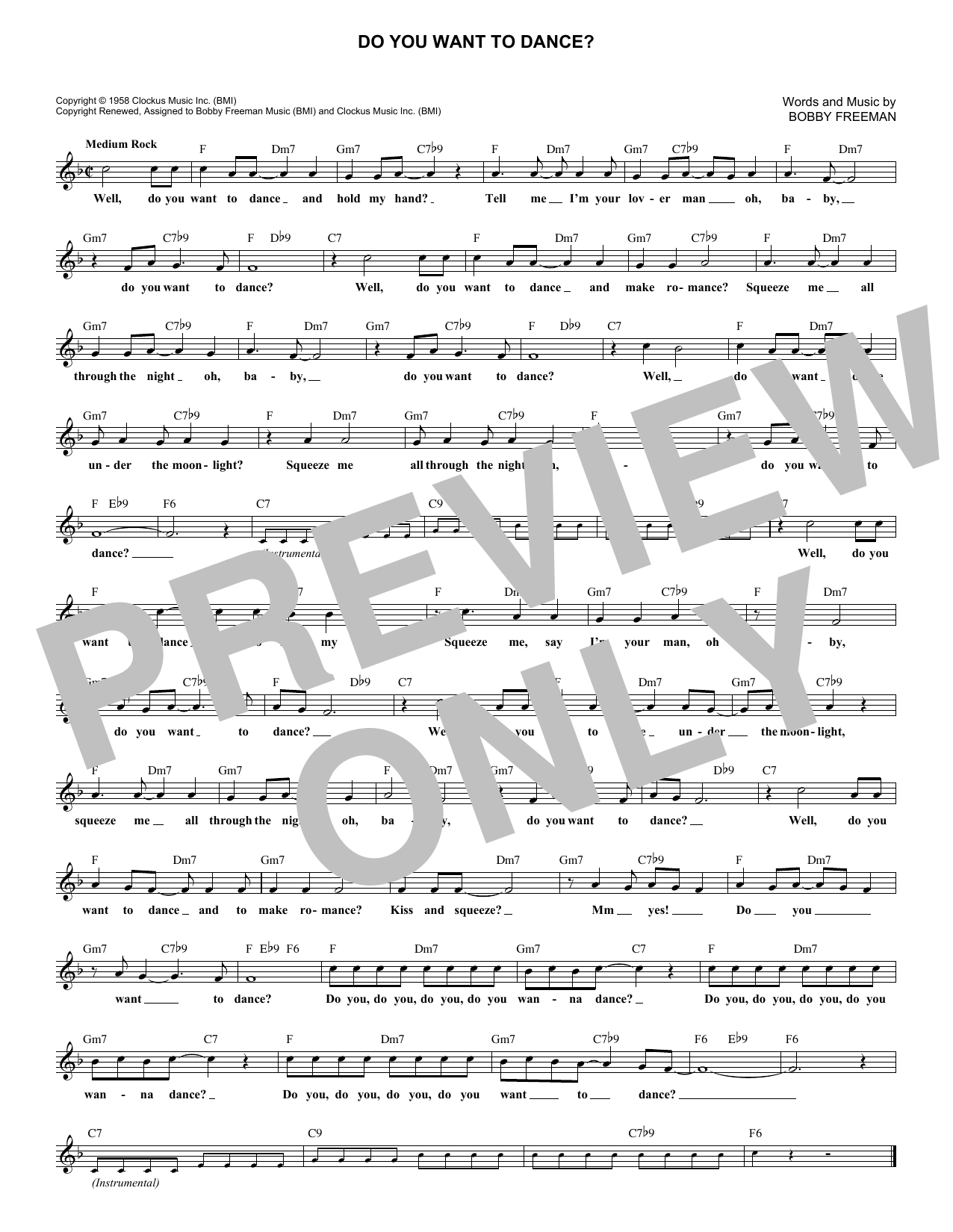 Do You Want To Dance? (Lead Sheet / Fake Book)