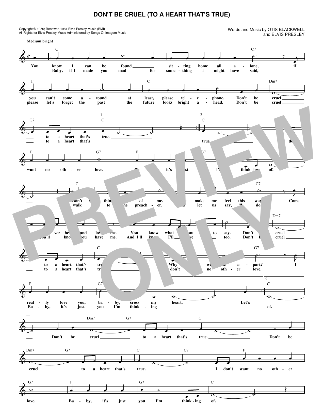 Don't Be Cruel (To A Heart That's True) Sheet Music