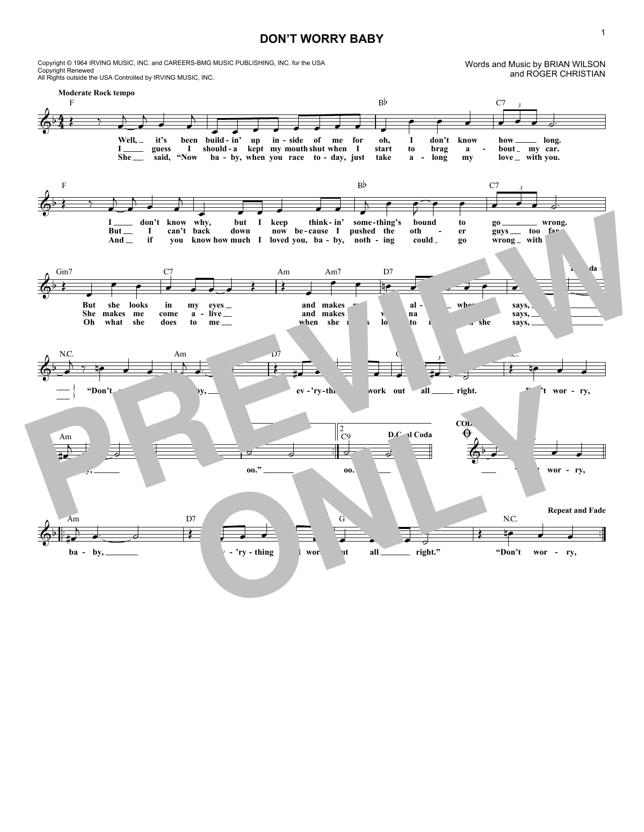 Don't Worry Baby (Lead Sheet / Fake Book)