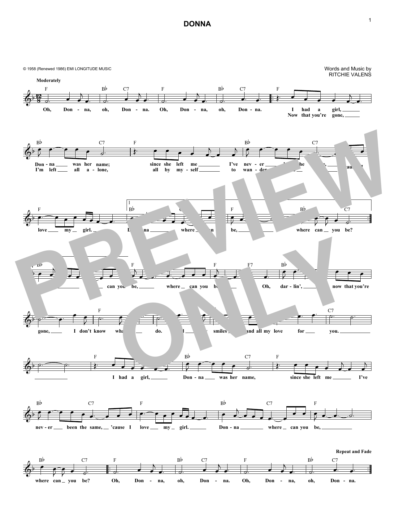 Donna (Lead Sheet / Fake Book)