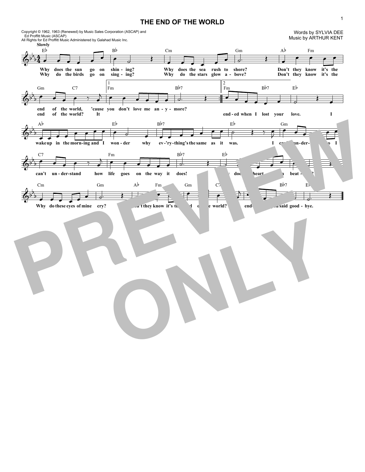 The End Of The World (Lead Sheet / Fake Book)