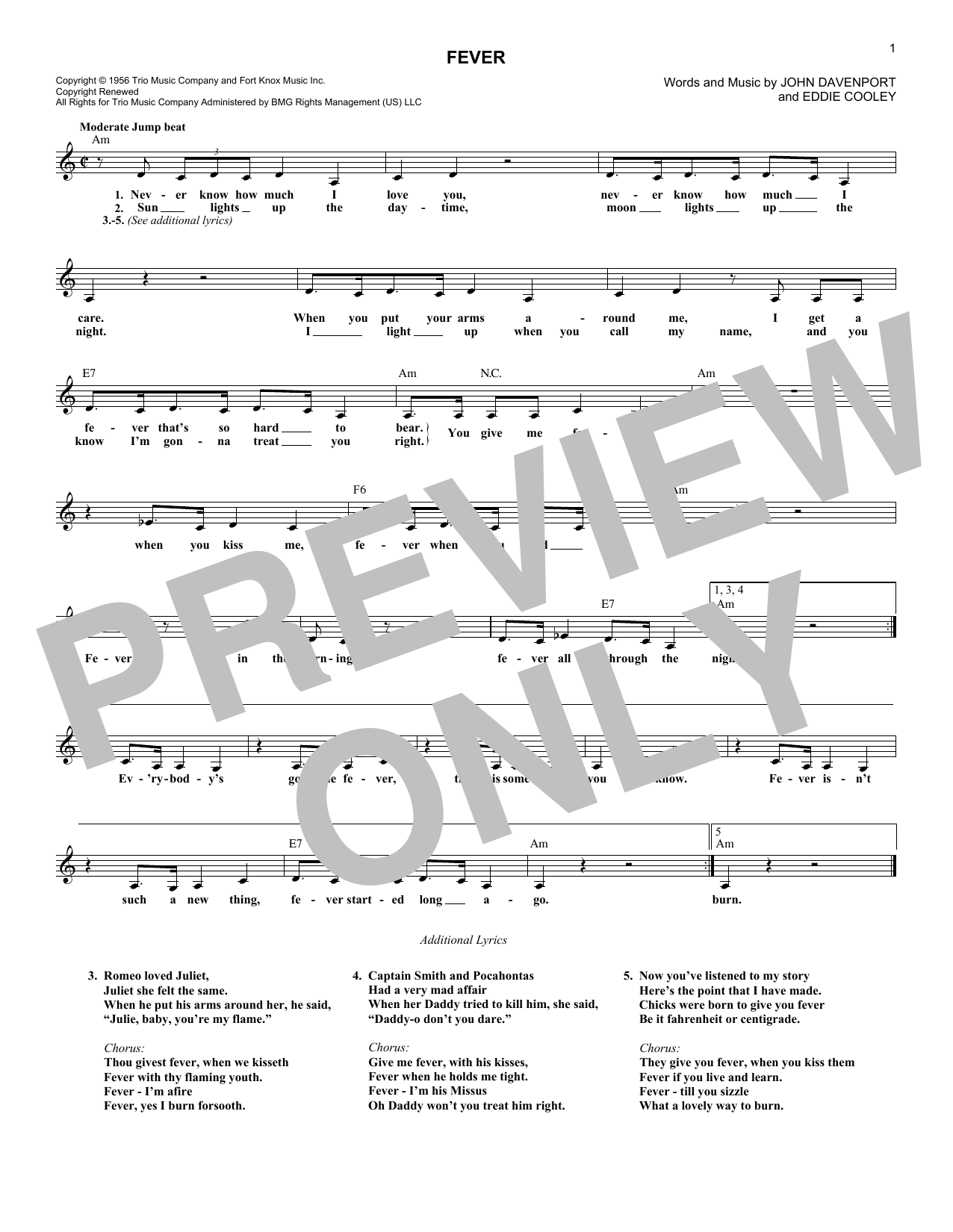 Fever chords by peggy lee melody line lyrics chords 182747 fever sheet music hexwebz Gallery
