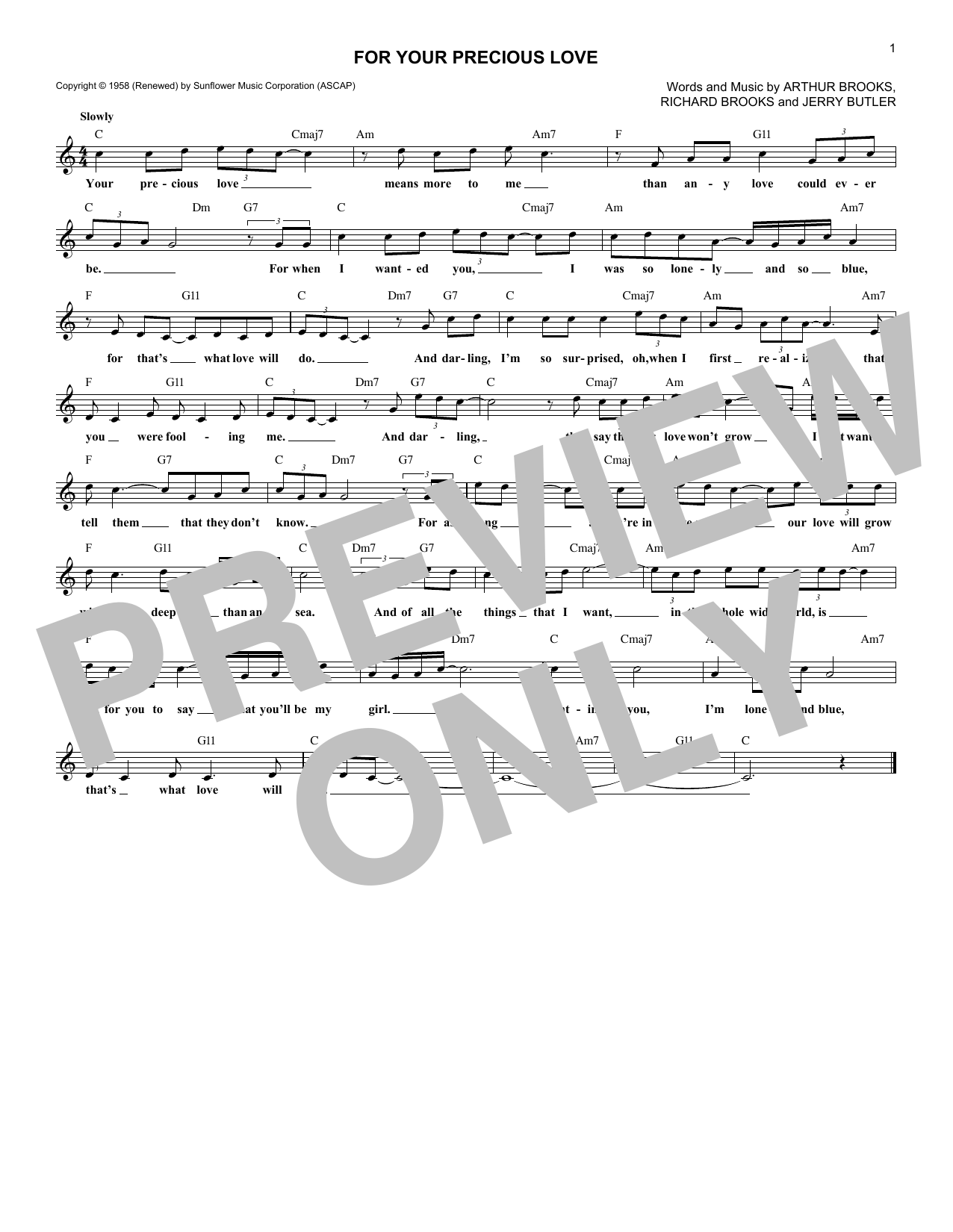 For Your Precious Love (Lead Sheet / Fake Book)