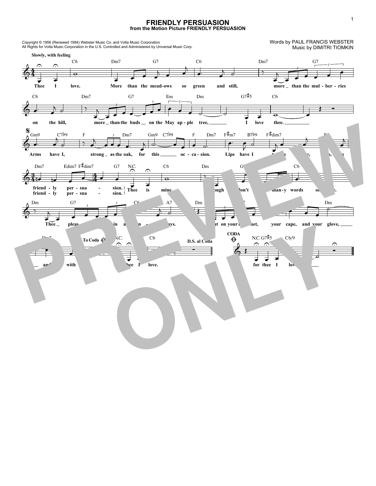 Friendly Persuasion (Lead Sheet / Fake Book)