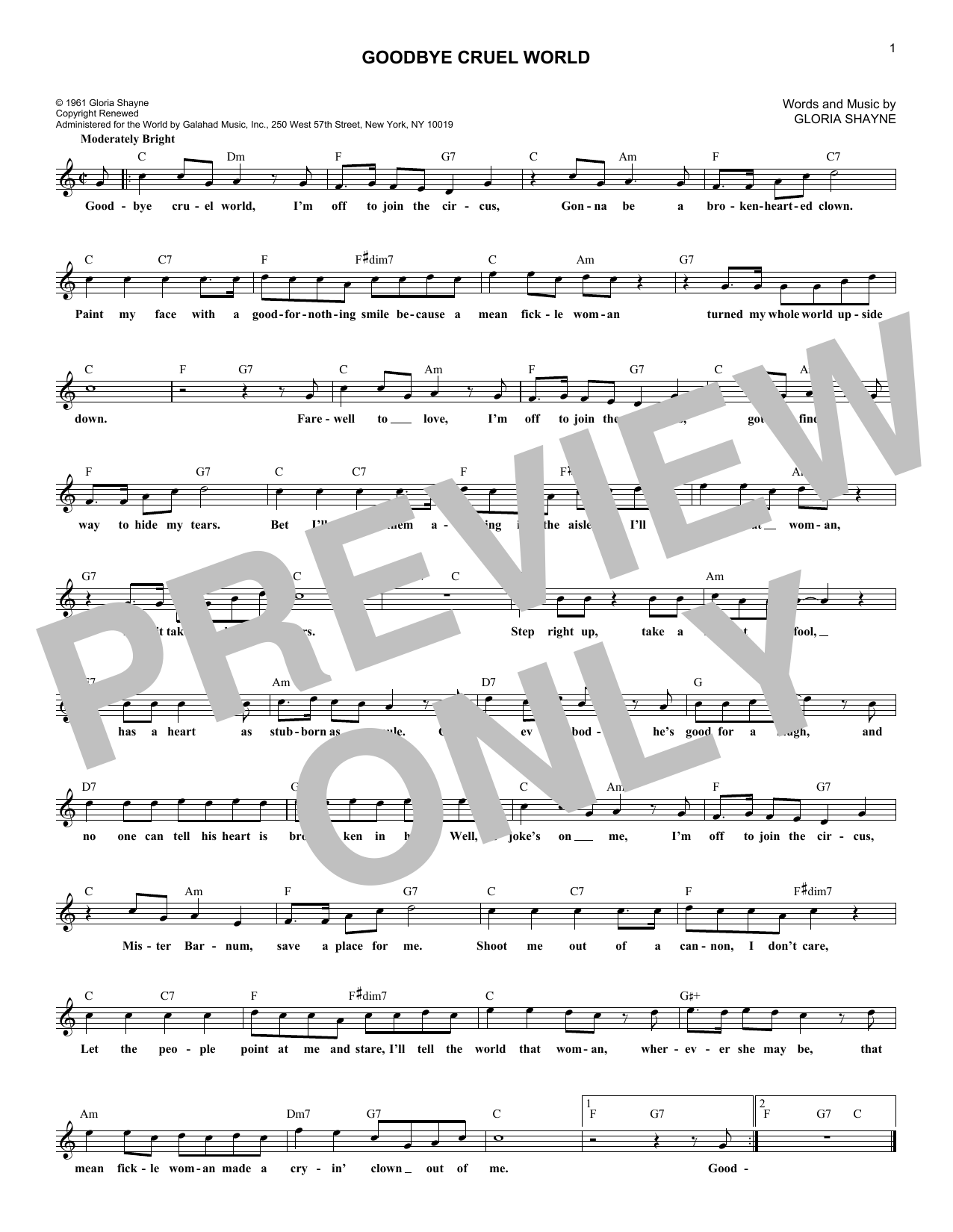 Goodbye Cruel World (Lead Sheet / Fake Book)
