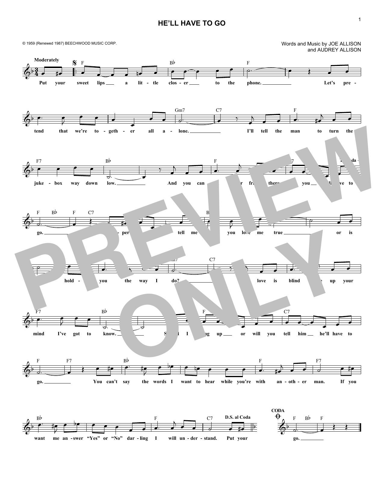 He'll Have To Go (Lead Sheet / Fake Book)