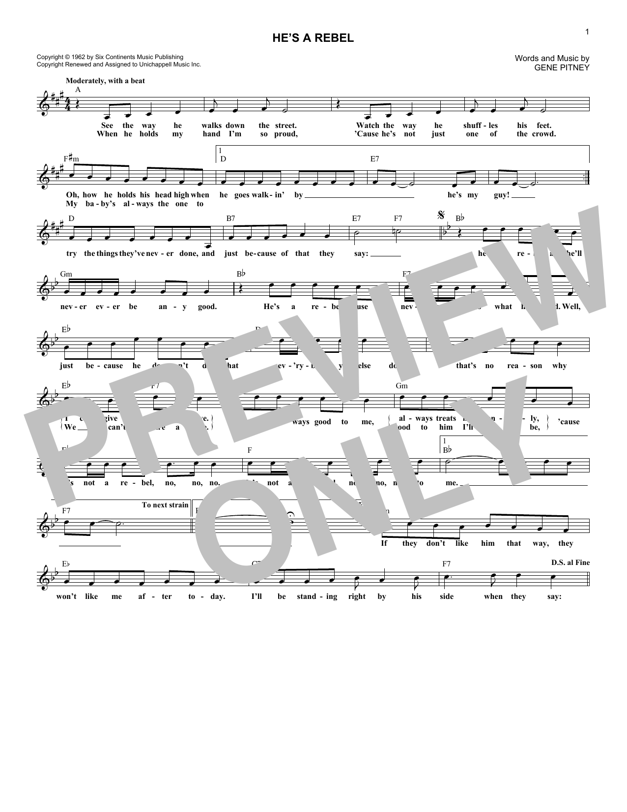 He's A Rebel (Lead Sheet / Fake Book)