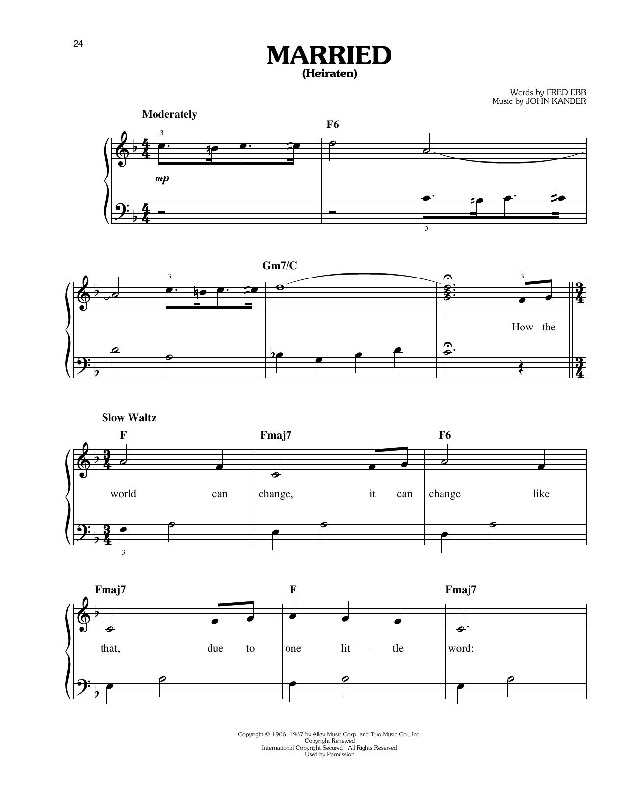 Partition piano Married (Heiraten) de John Kander - Piano Facile