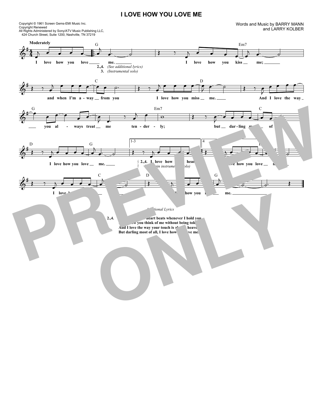 I Love How You Love Me (Lead Sheet / Fake Book)