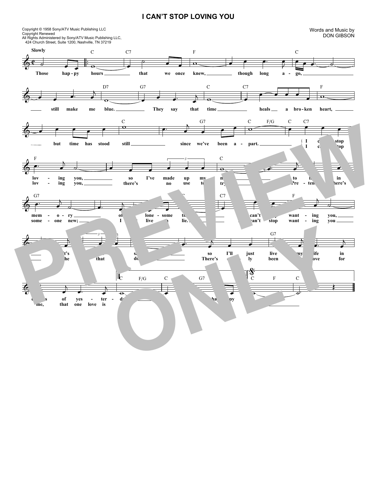 I Can't Stop Loving You (Lead Sheet / Fake Book)