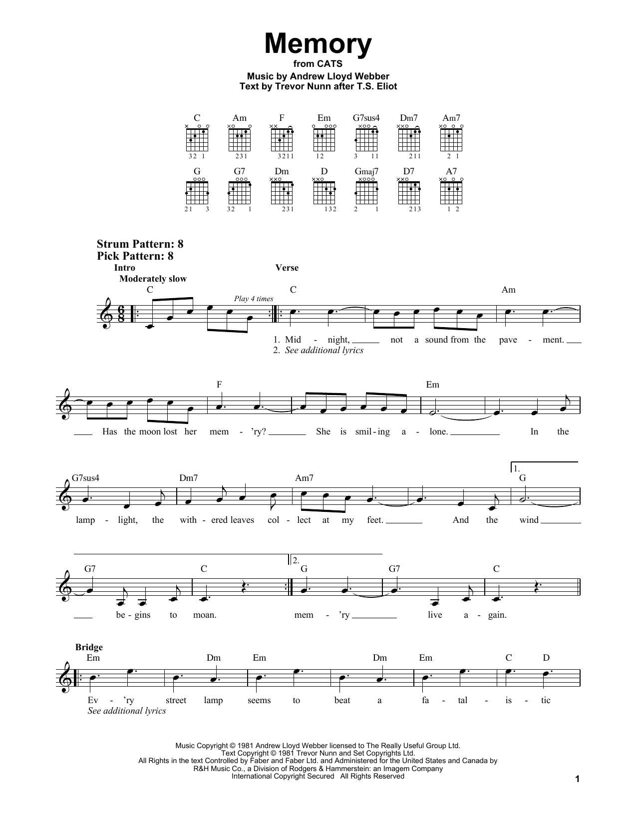 Memory (from Cats) (Easy Guitar)