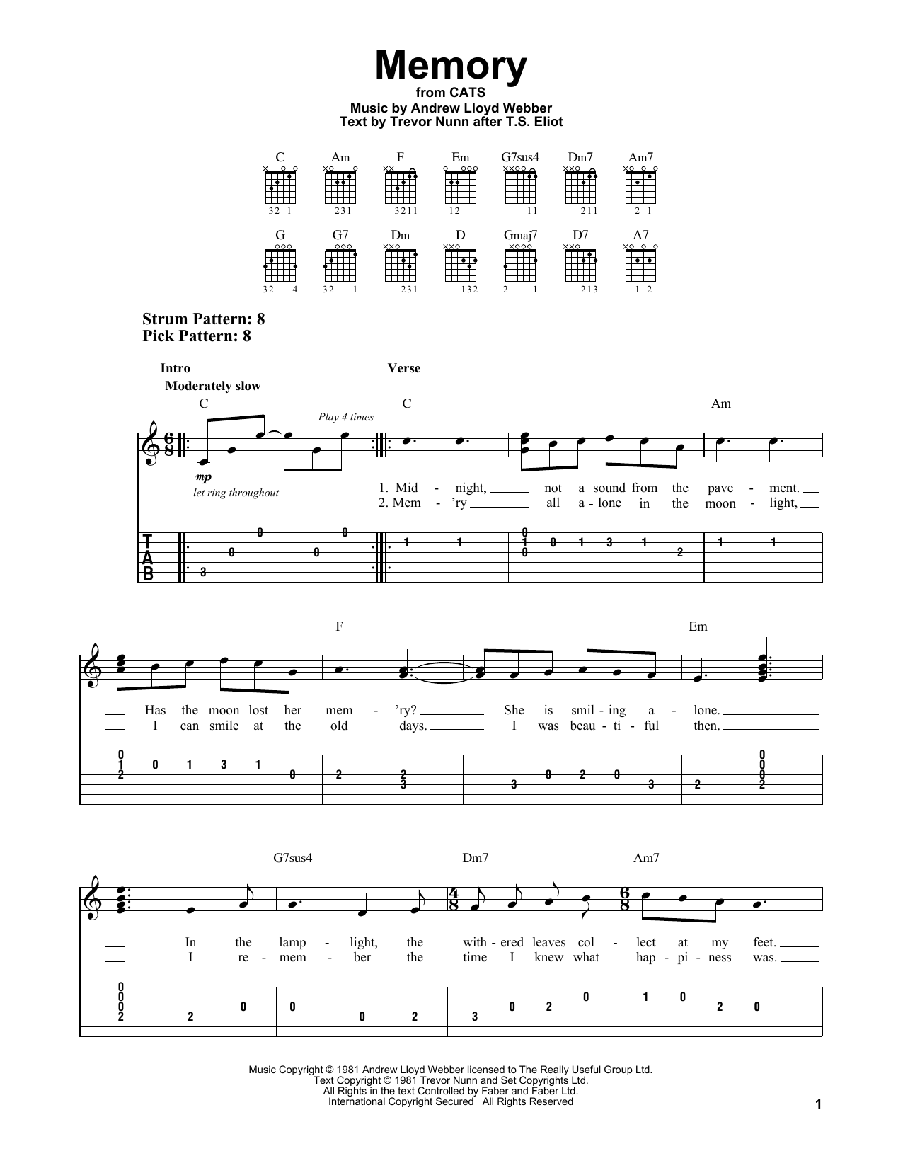 Memory (from Cats) (Easy Guitar Tab)