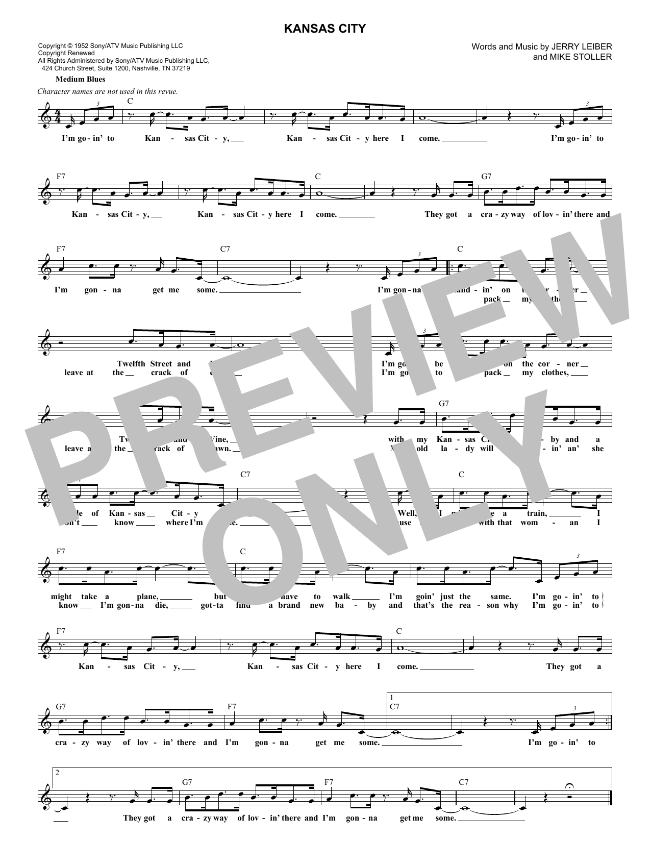 Kansas City (Lead Sheet / Fake Book)