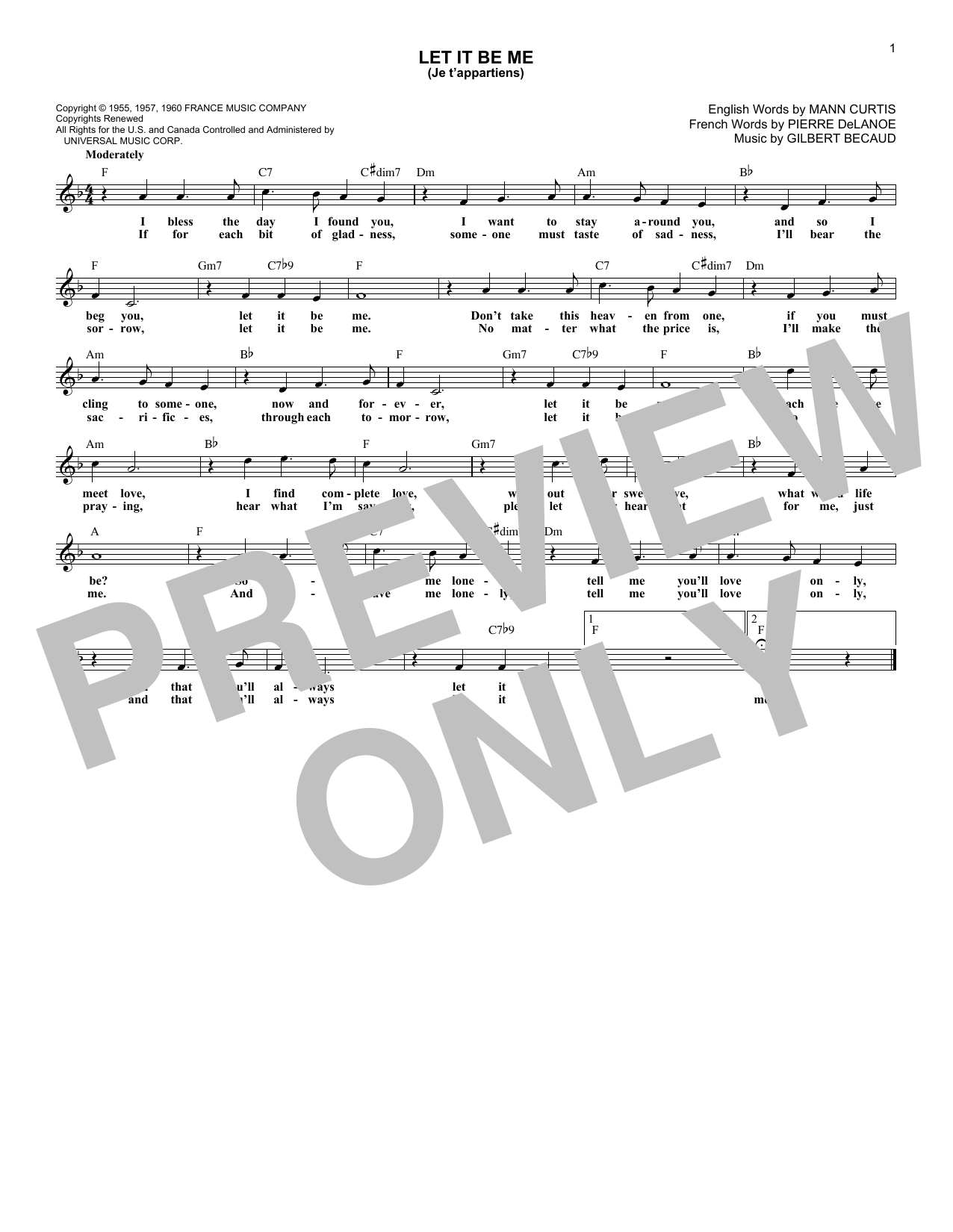 Let It Be Me (Je T'appartiens) (Lead Sheet / Fake Book)