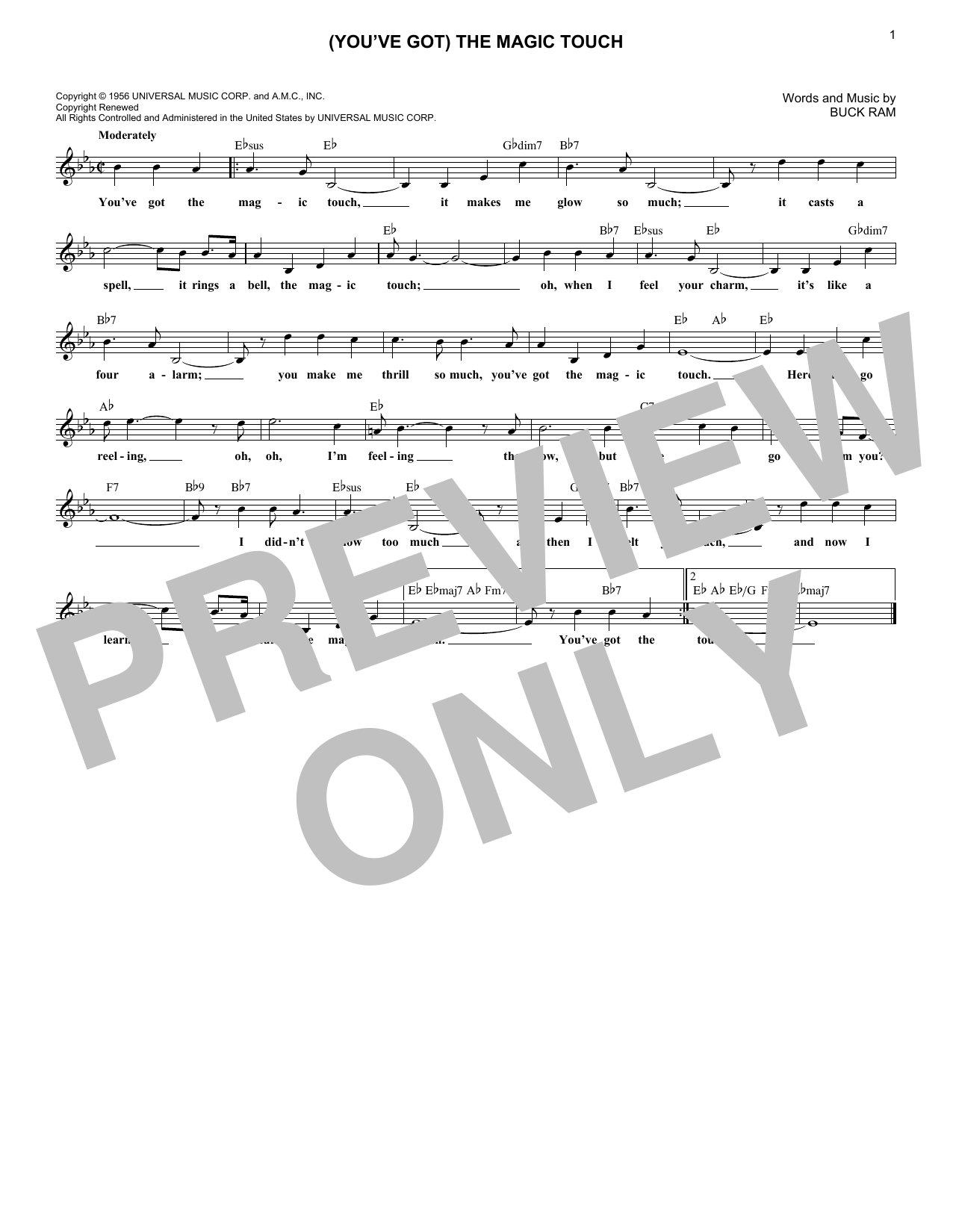 (You've Got) The Magic Touch (Lead Sheet / Fake Book)