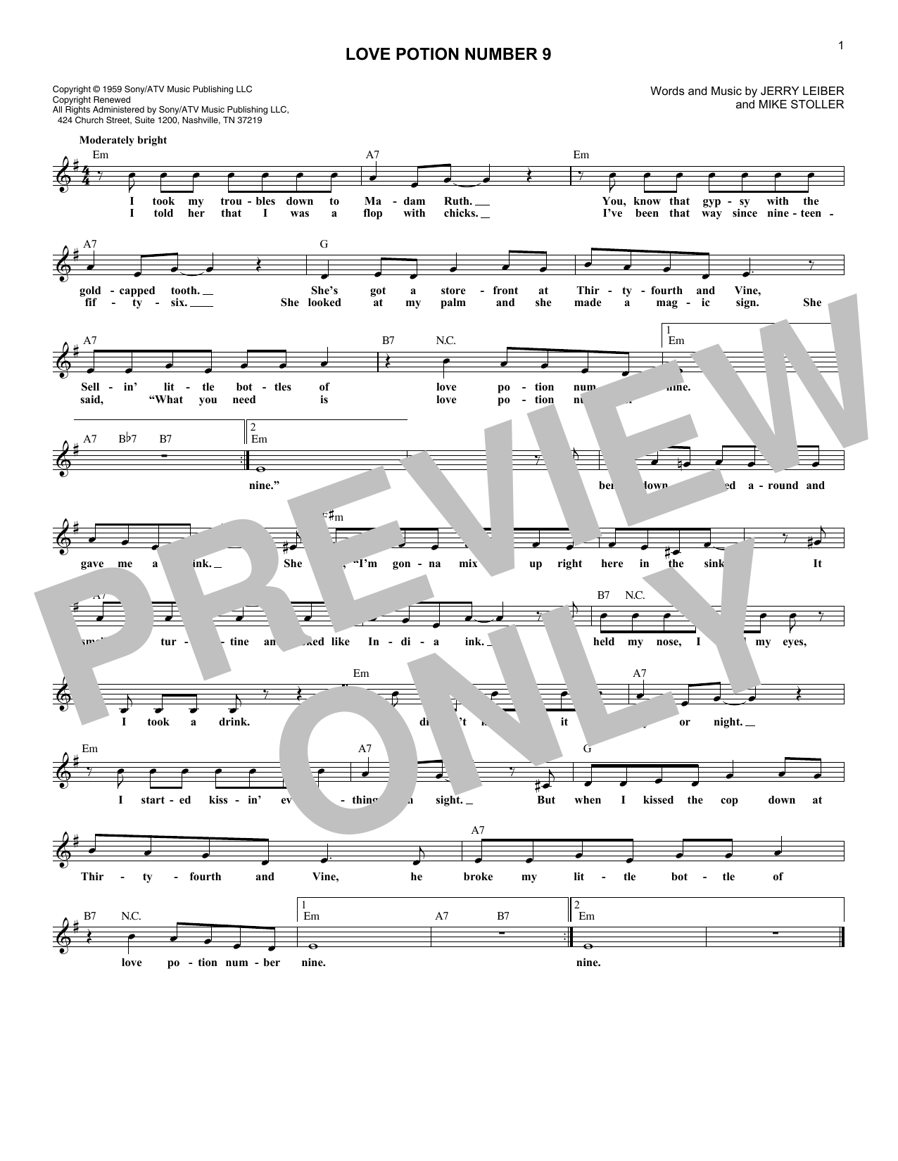 Love Potion Number 9 (Lead Sheet / Fake Book)