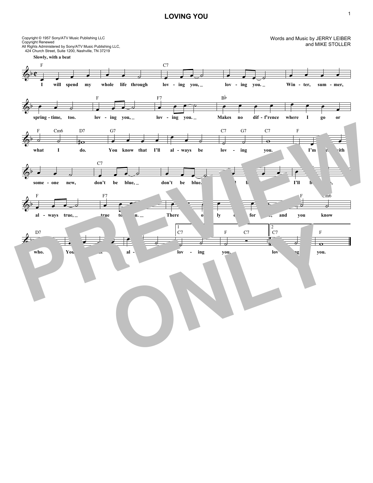 Loving You (Lead Sheet / Fake Book)