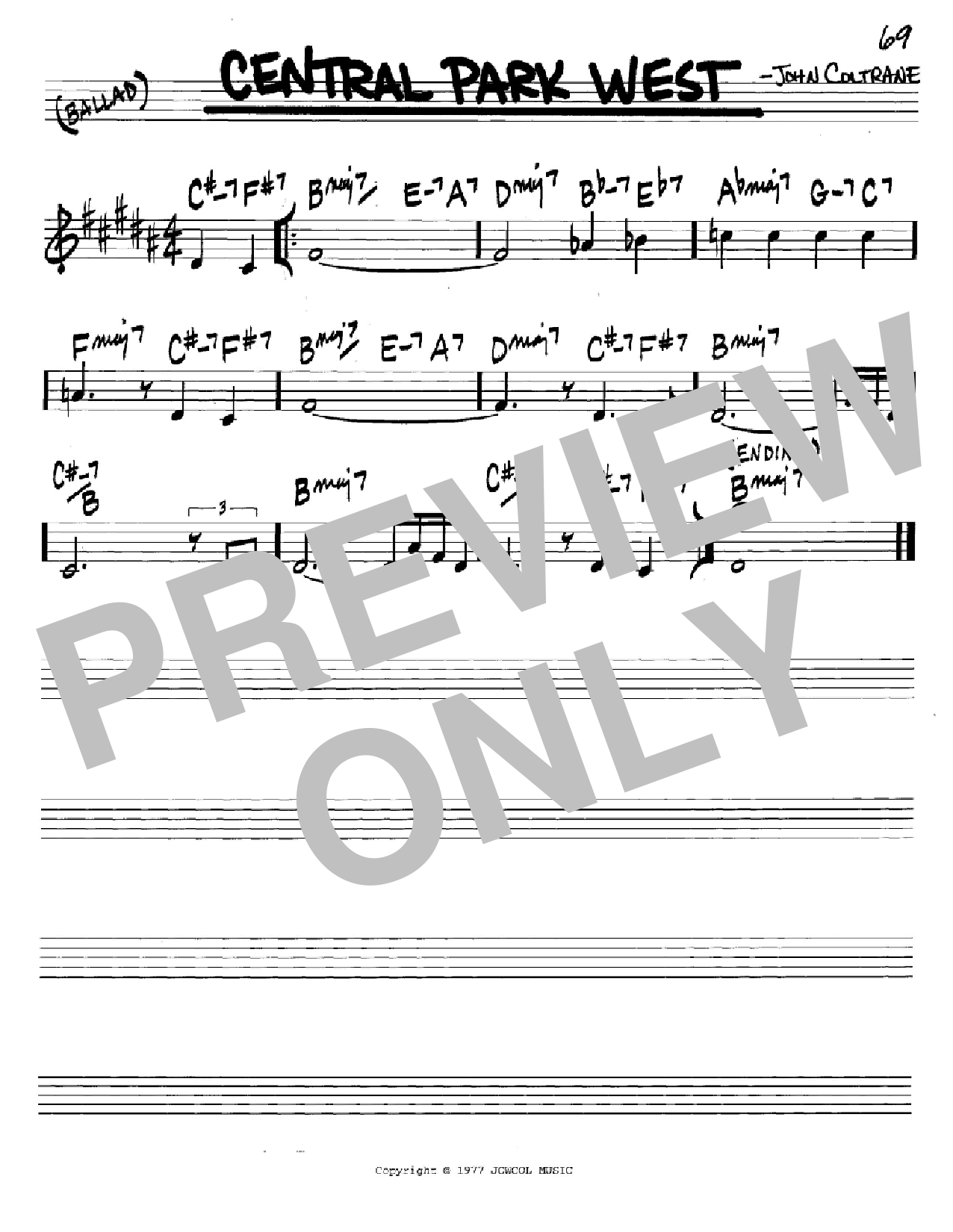 Central Park West (Real Book – Melody & Chords – C Instruments)