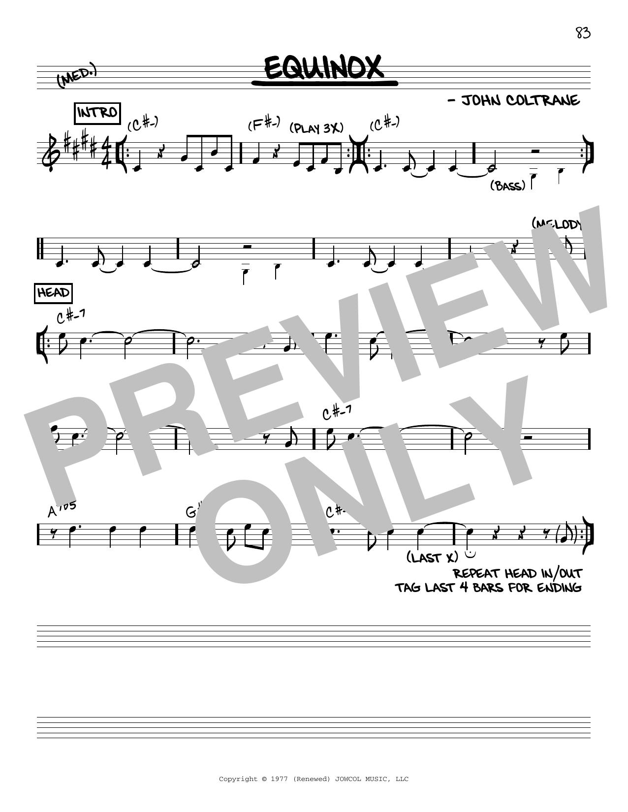 Equinox (Real Book – Melody & Chords – C Instruments)